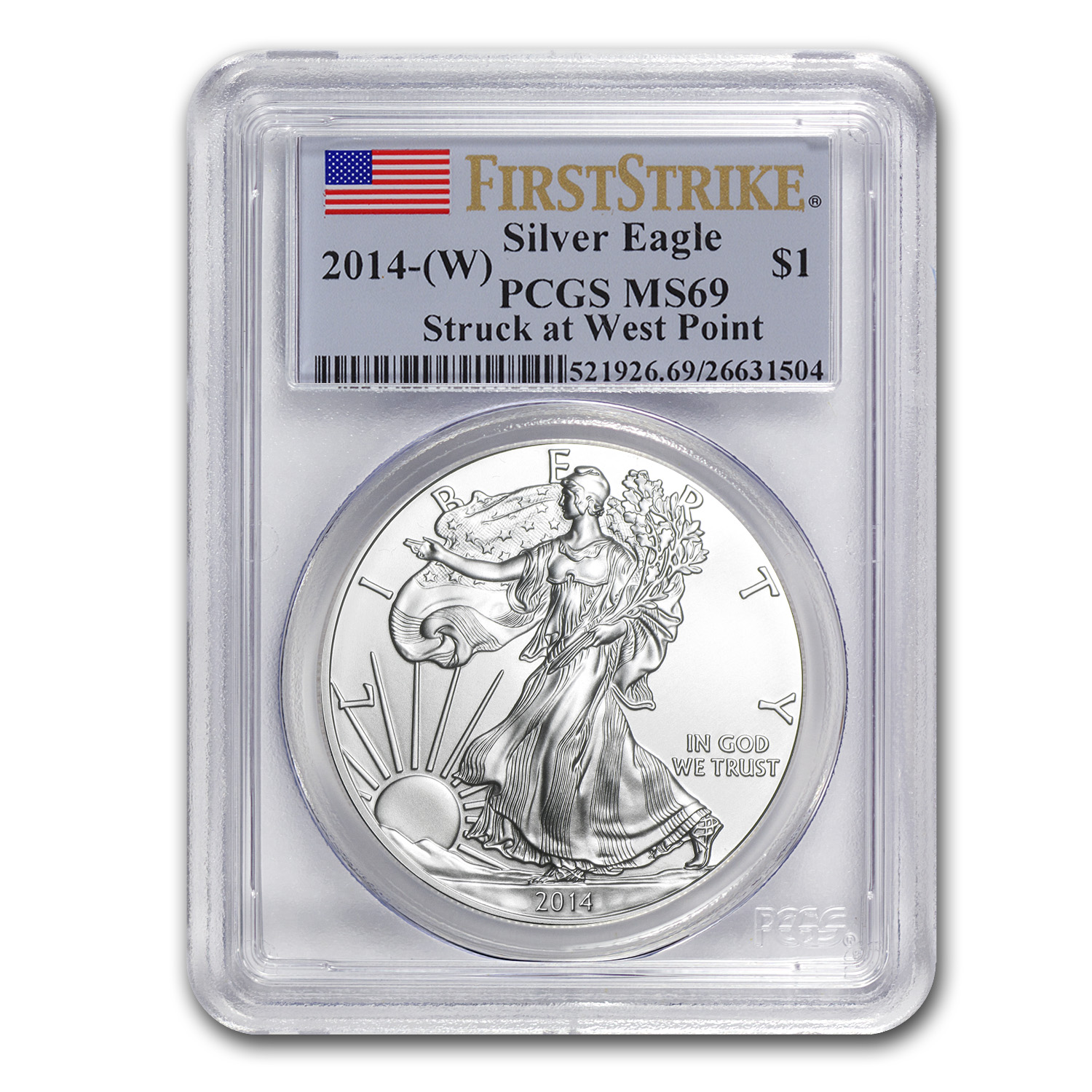 2014 (W) Silver American Eagle MS-69 PCGS (First Strike)