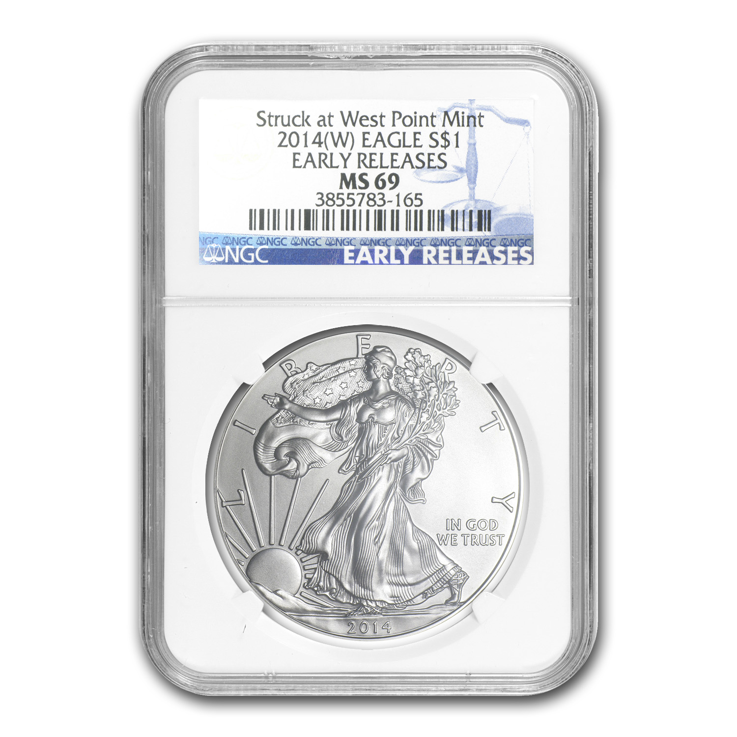 2014 (W) Silver American Eagle MS-69 NGC Early Release