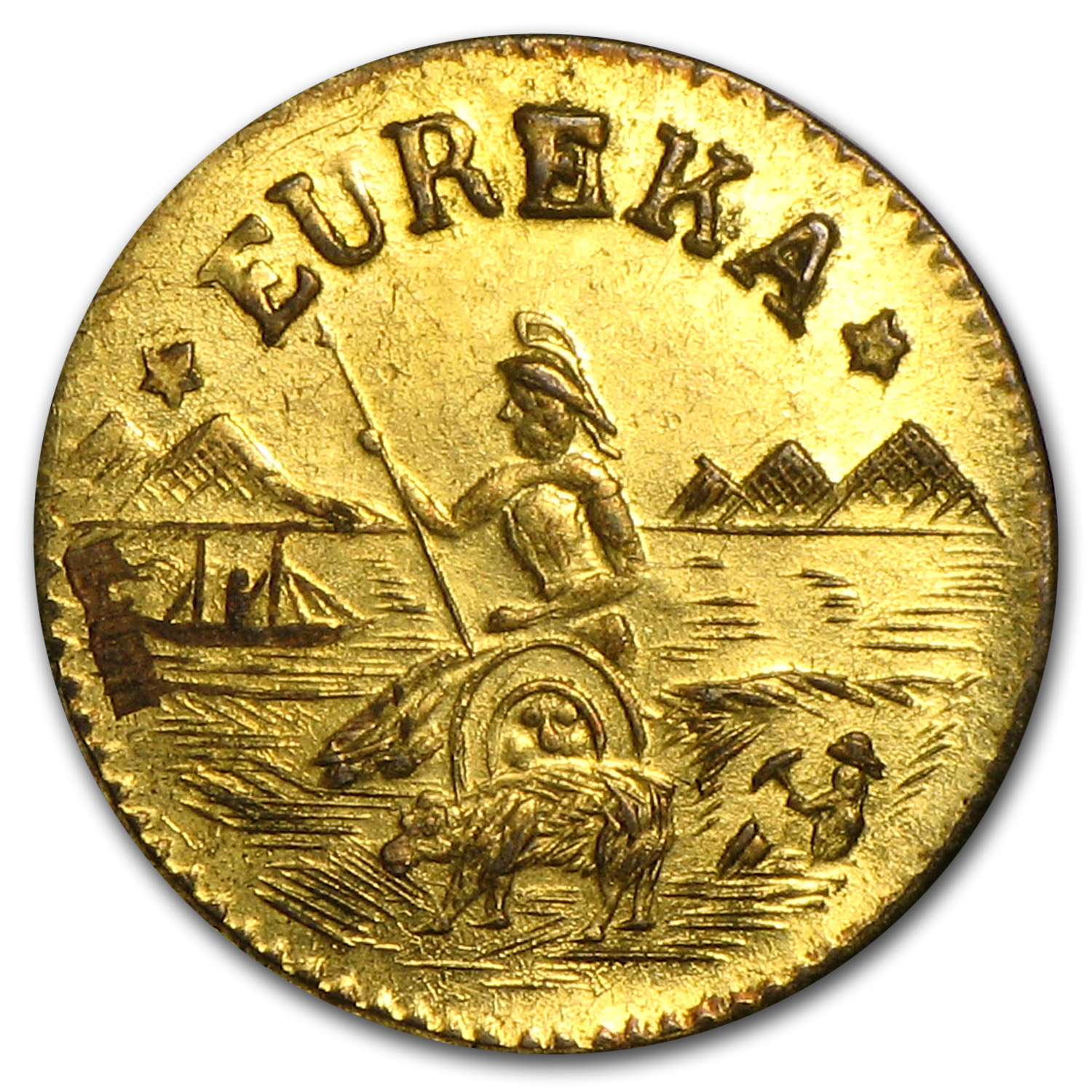 1875 Arms of California Fractional Gold Token AU