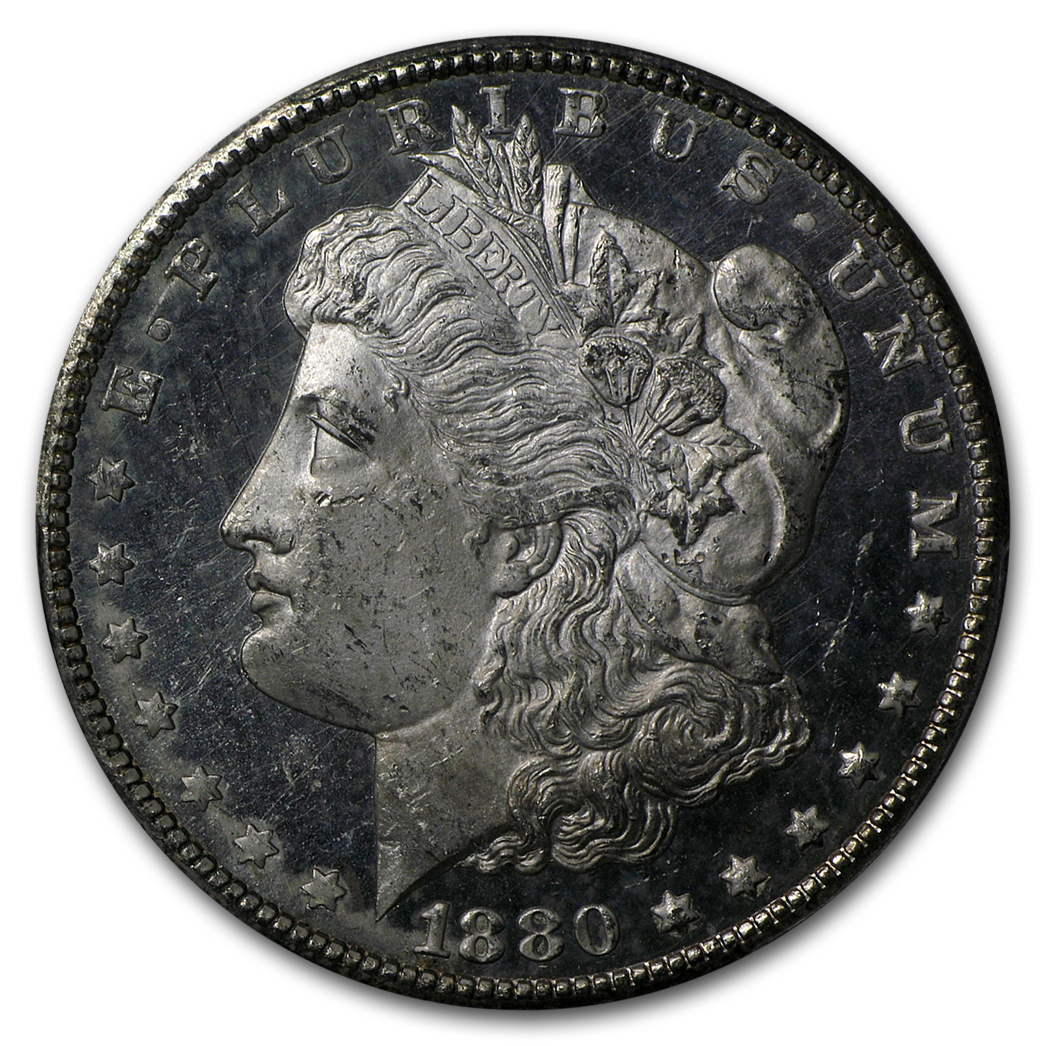 1880-CC Morgan Dollar 8/Low 7 DMPL MS-63 PCGS