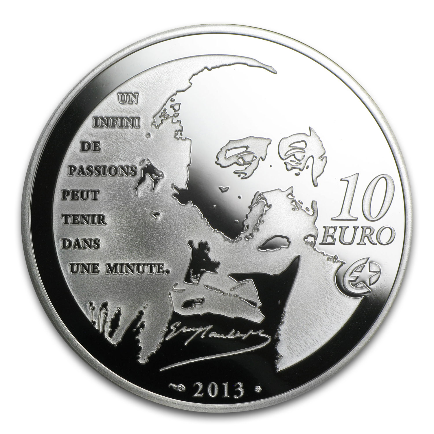 2013 €10 Silver Heroes of French Literature Proof (Madame Bovary)