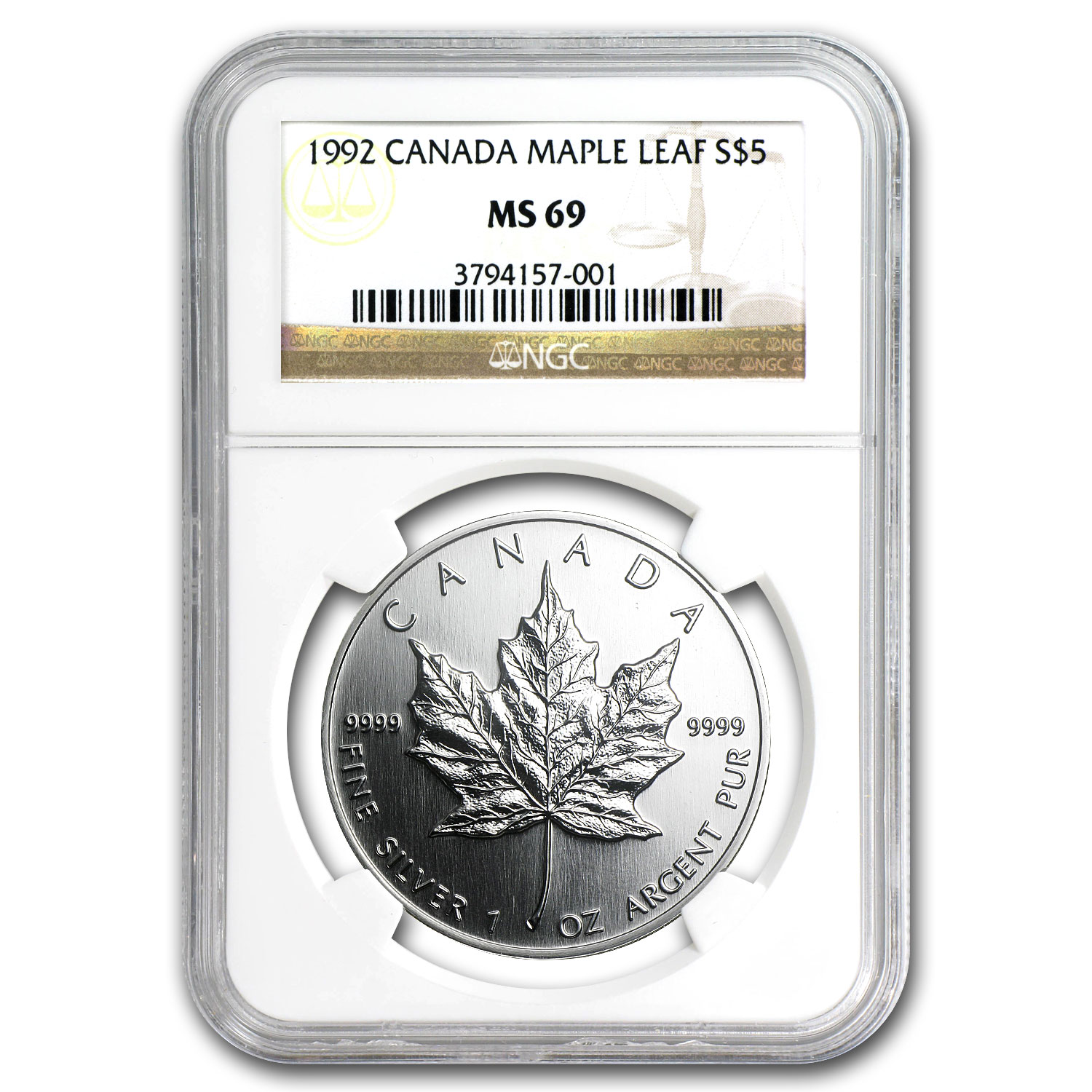 1992 1 oz Silver Canadian Maple Leaf MS-69 NGC