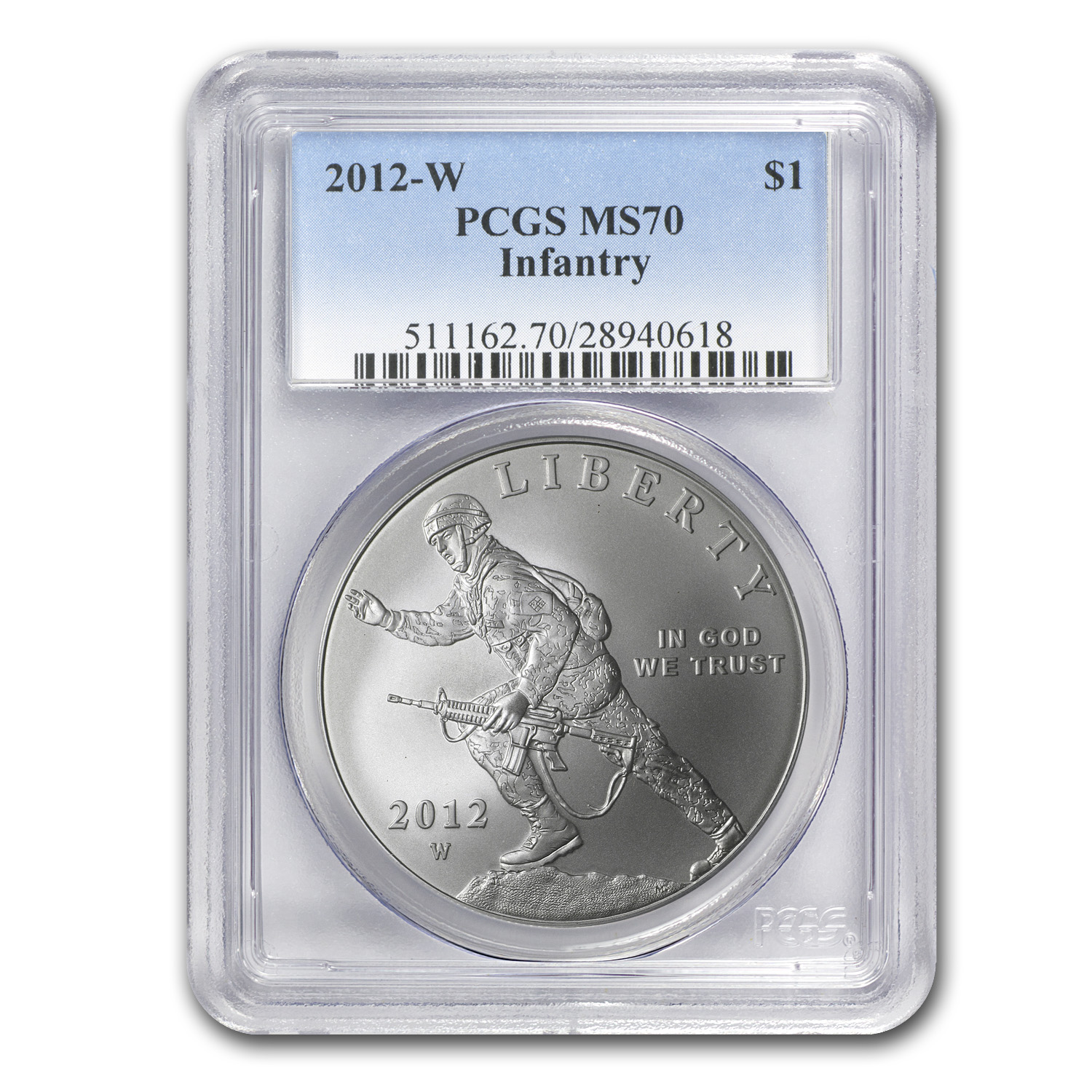 2012-W Infantry Soldier $1 Silver Commemorative MS-70 PCGS