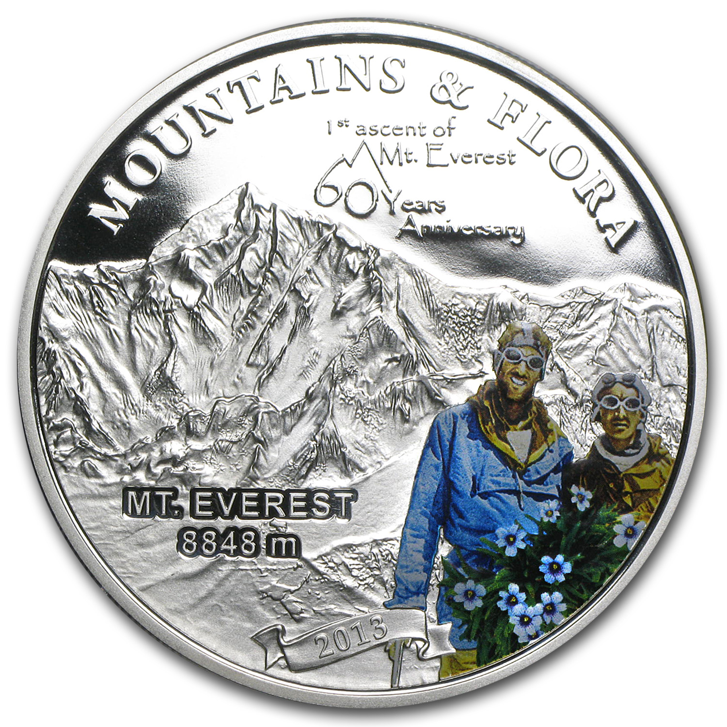 2013 Palau Proof Silver 60th Anniv of 1st Ascent Mount Everest