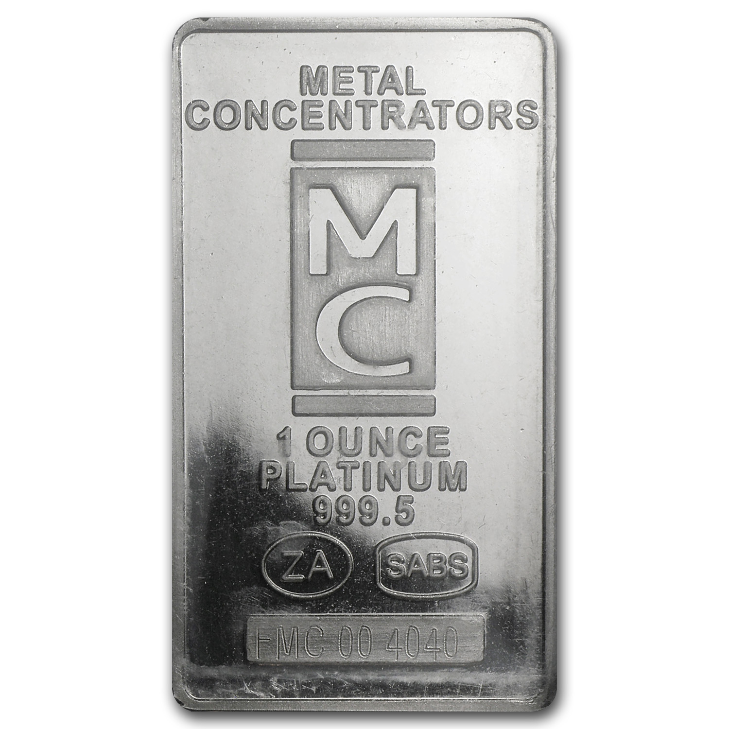 1 oz South African Platinum Bar (MC) .9999 Fine