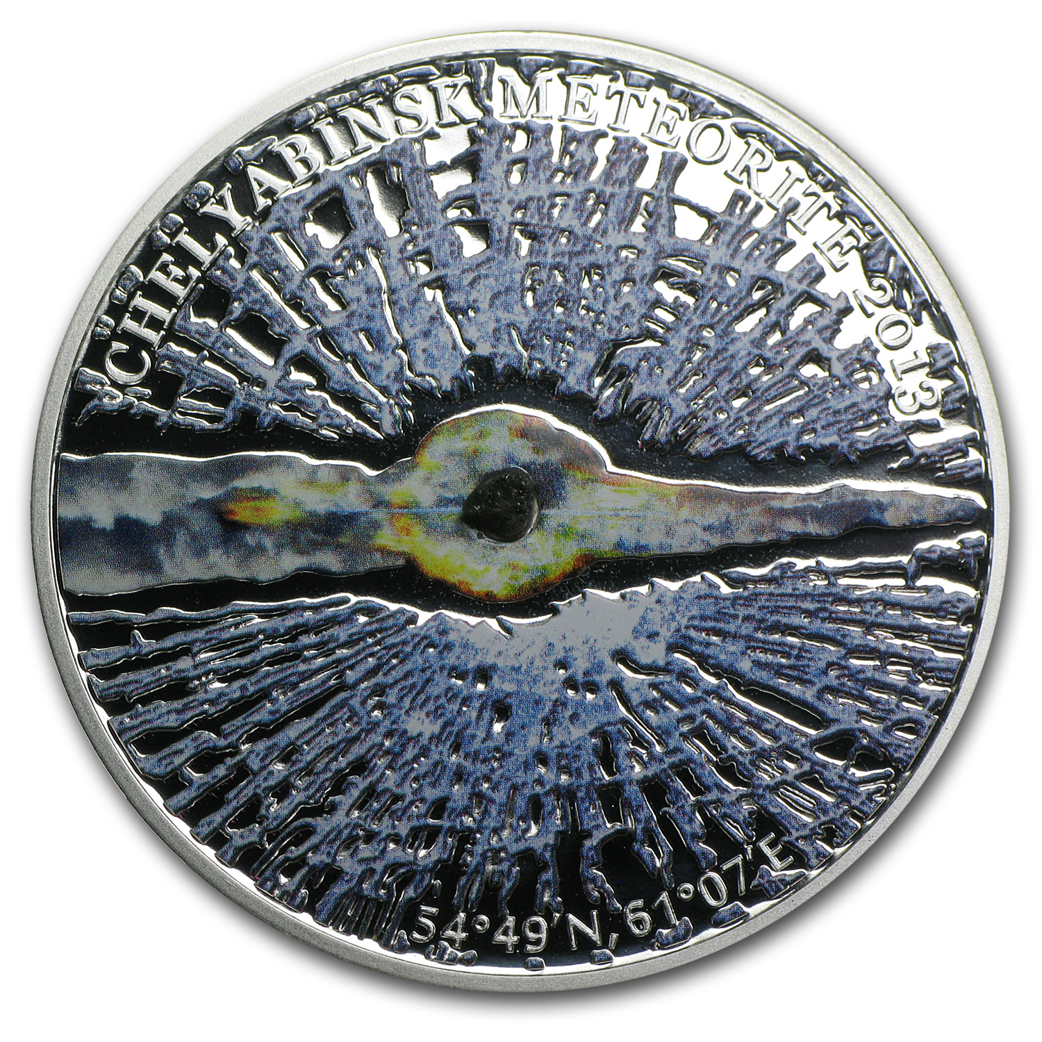 2013 Cook Islands Proof Silver $5 Chelyabinsk Meteorite