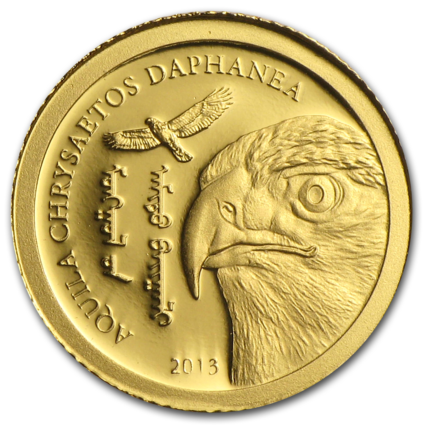2013 Mongolia 1/2 gram Prf Gold 500 Togrog Wildlife Golden Eagle