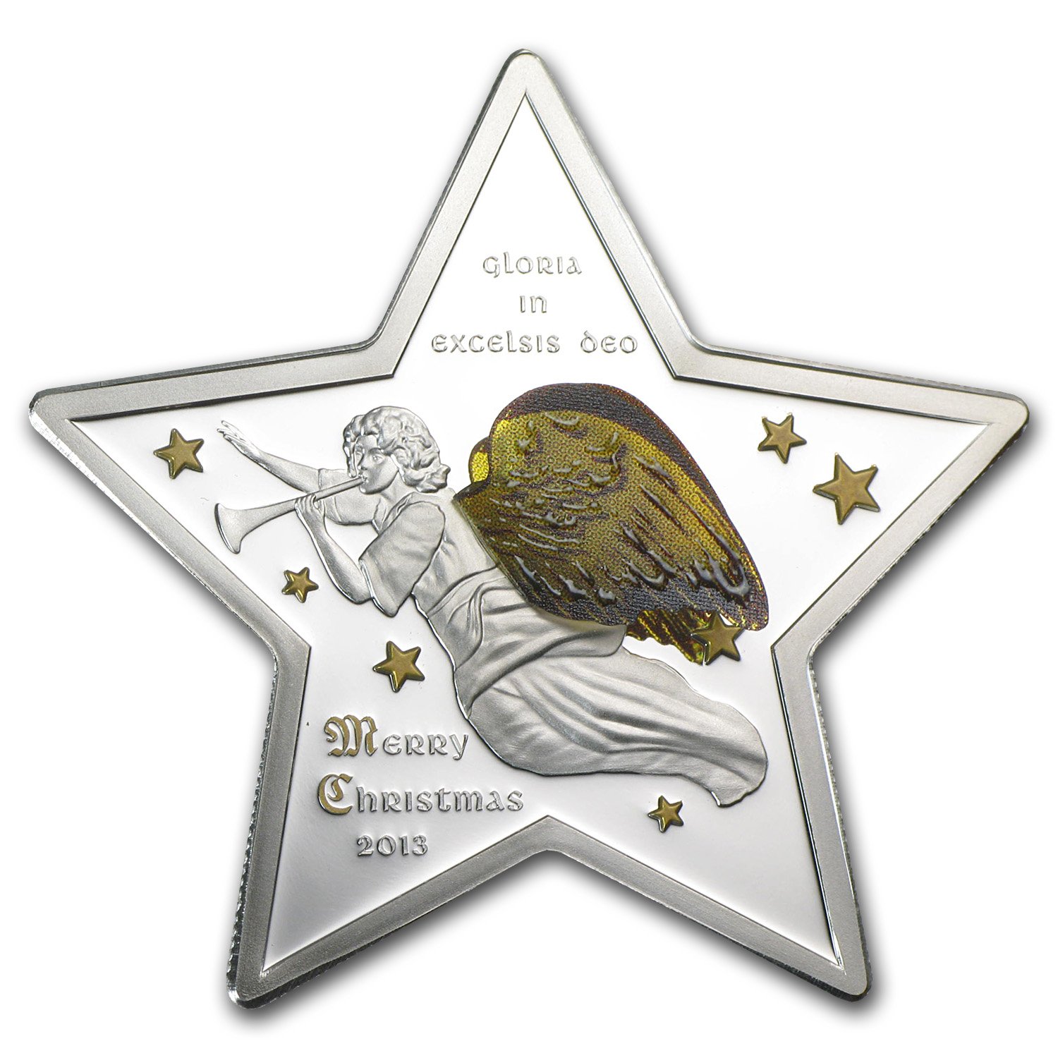 2013 Cook Islands Merry Christmas Silver Star Gloria Excelsis Deo