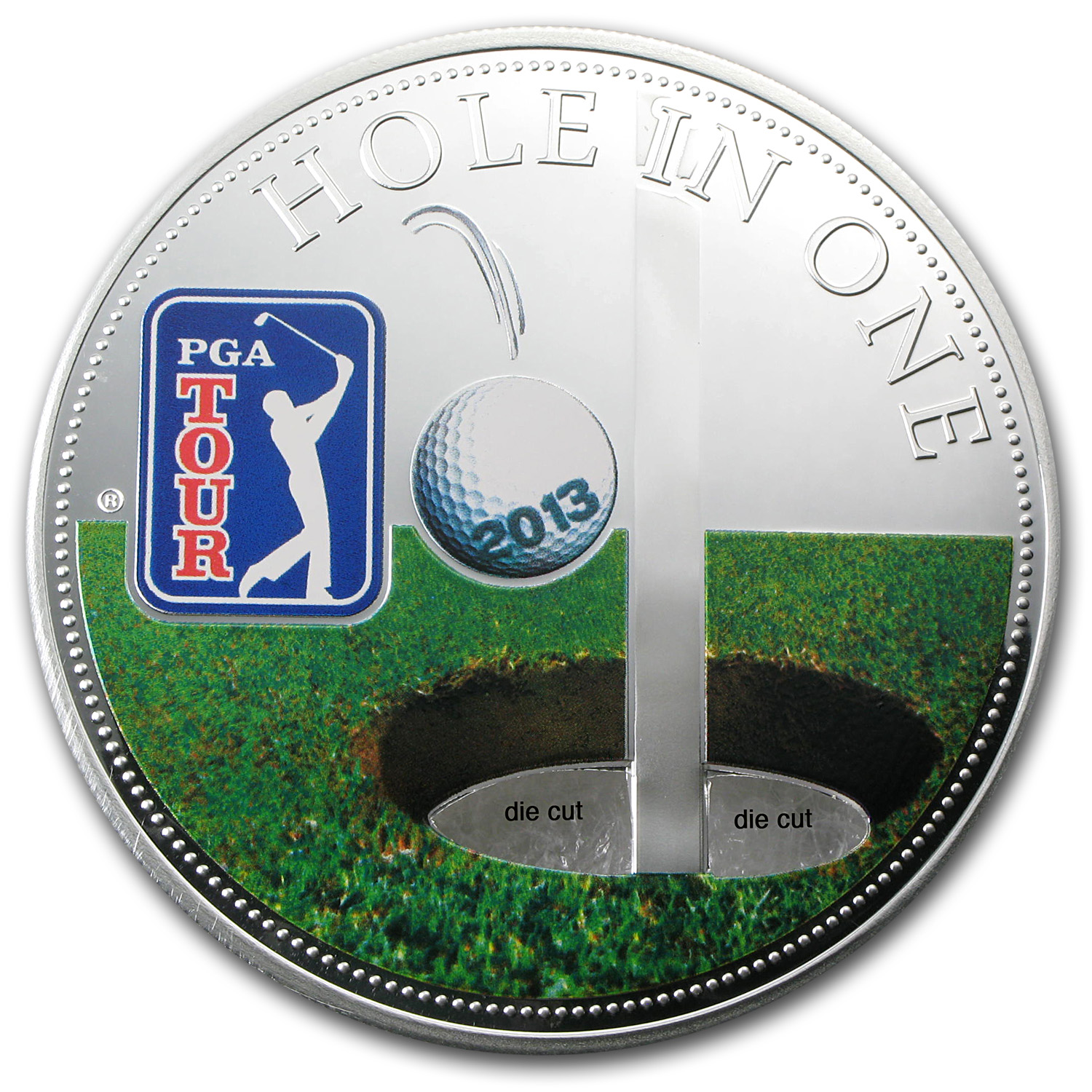 2013 Cook Islands Proof Silver $5 PGA Tour Hole in One