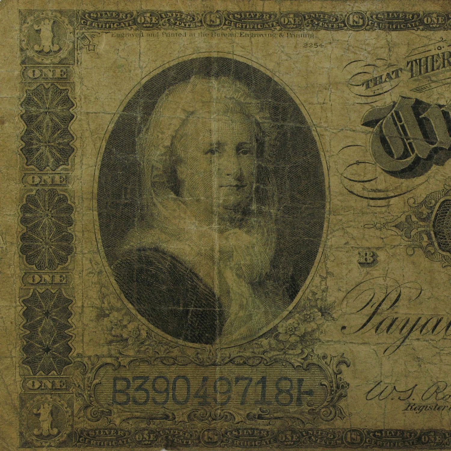 1886 $1.00 Silver Certificate Martha Washington VG