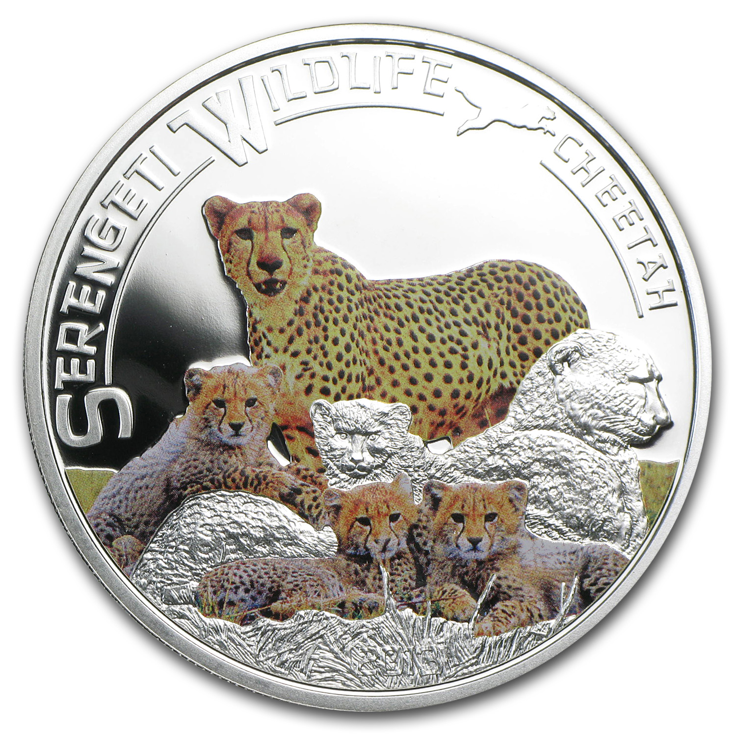 2013 Tanzania Silver Serengeti Wildlife Cheetah Proof