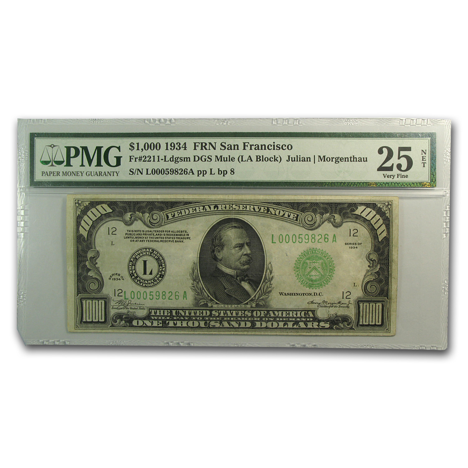 1934 (L-San Francisco) $1,000 FRN PMGS (Very Fine)-25 Net)