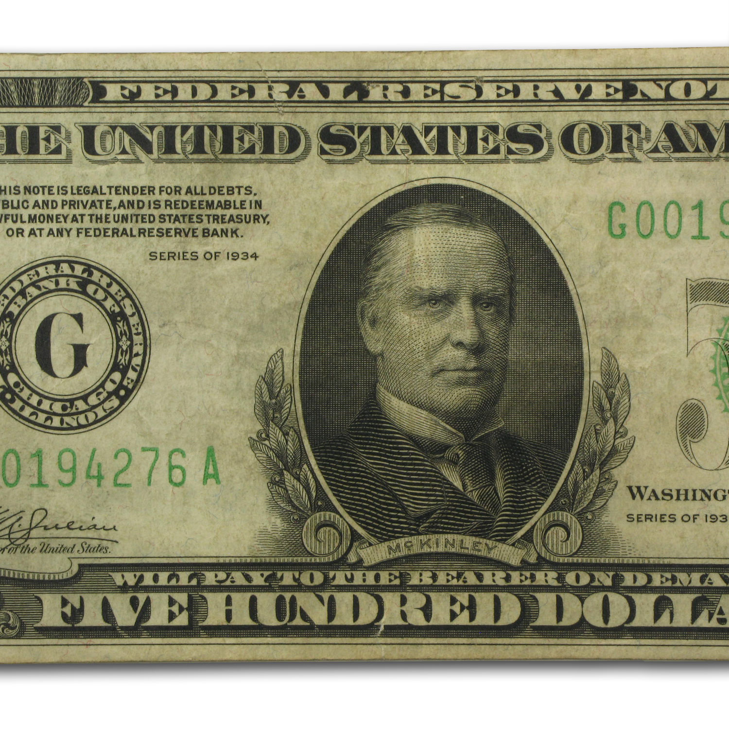 1934 (G-Chicago) $500 FRN VF-25 App PCGS