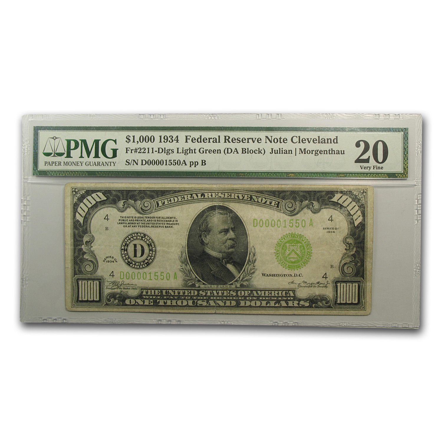 1934 (D-Cleveland) $1,000 FRN VF-20 PMG (LGS)
