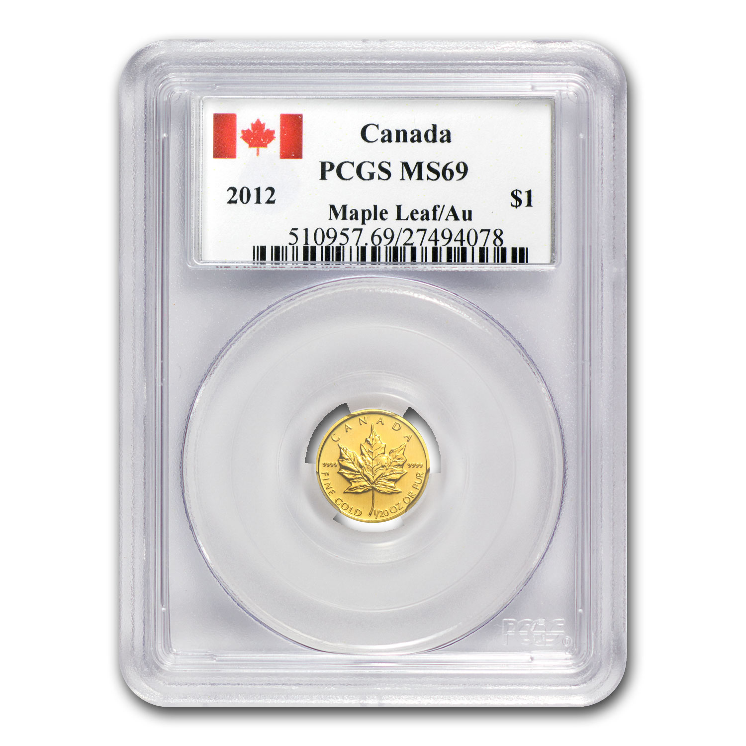 2012 1/20 oz Gold Canadian Maple Leaf MS-69 PCGS