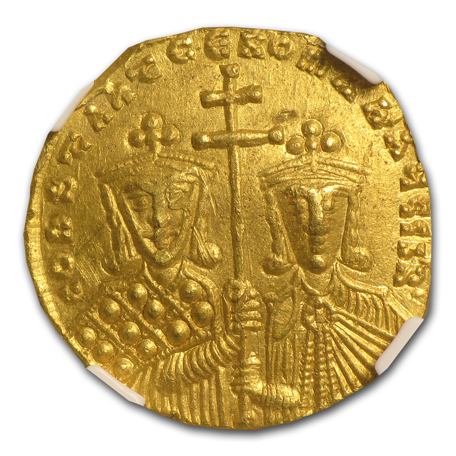 Byzantine Gold Solidus Constantine VII Ch AU NGC (945-963 AD)