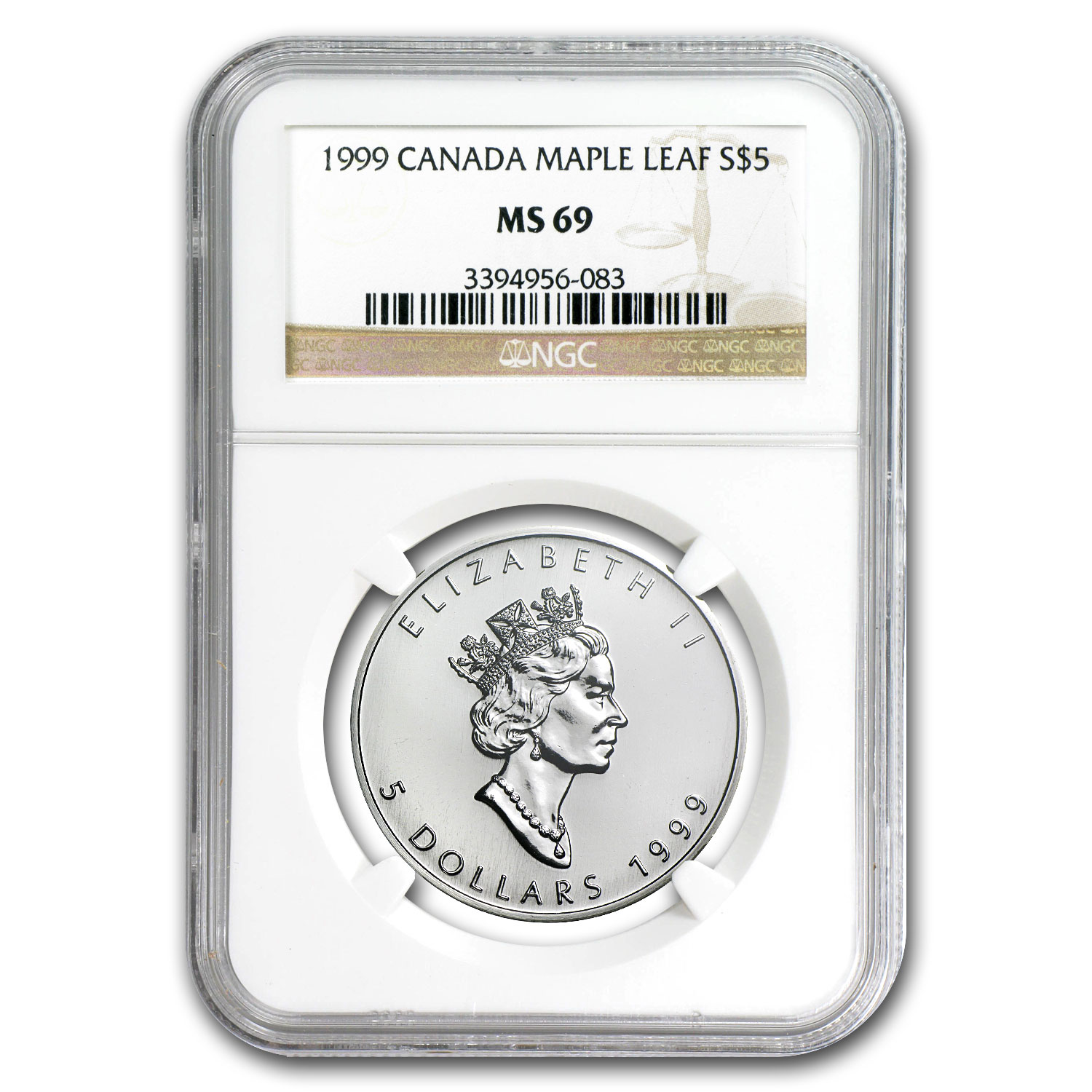 1999 1 oz Silver Canadian Maple Leaf MS-69 NGC
