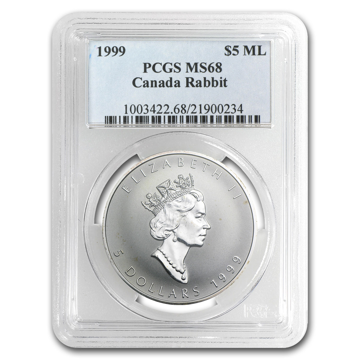 1999 Canada 1 oz Silver Maple Leaf Lunar RABBIT MS-68 PCGS