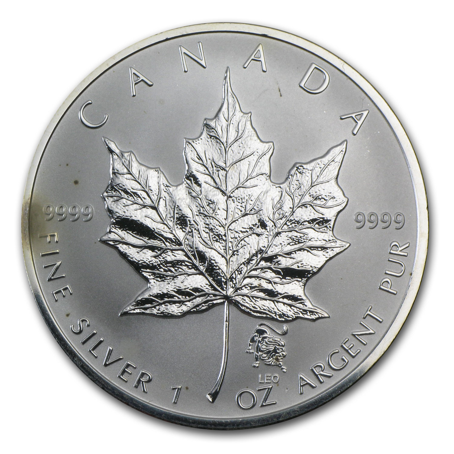 Canadian 1 oz Silver Maple Leaf Privy (Abrasions, Spotted)