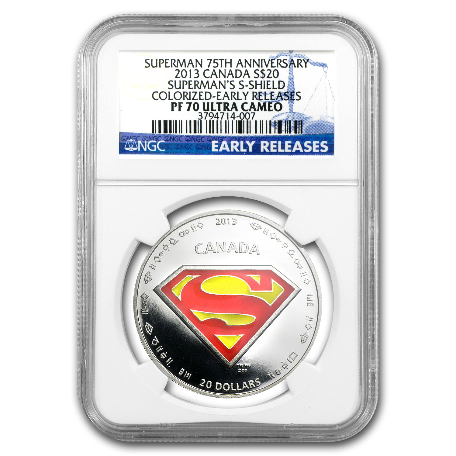 2013 Canada Silver 75th Anniv of Superman™ Shield PF-70 NGC
