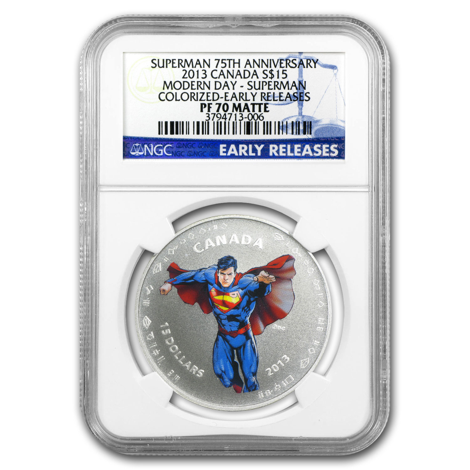 2013 Silver Can. 75th Anniv. of Superman™-Modern Day PF-70 NGC