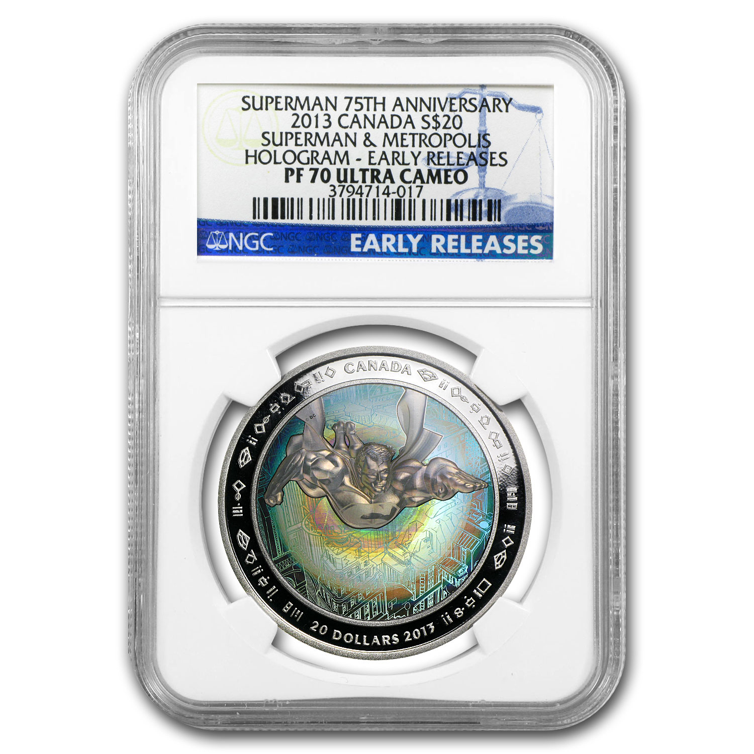 2013 Silver Can. 75th Anniv Superman™-Metropolis PF-70 UCAM NGC