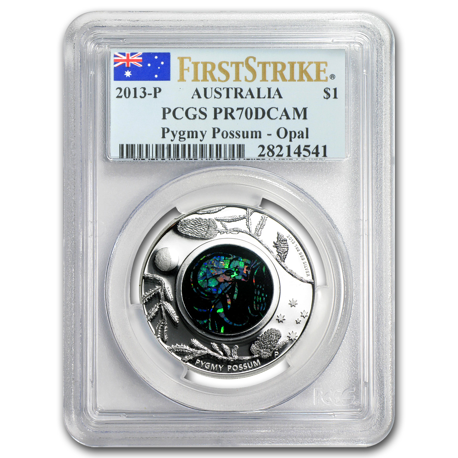 2013 1 oz Proof Silver Pygmy Possum - Opal Series PR-70 FS PCGS