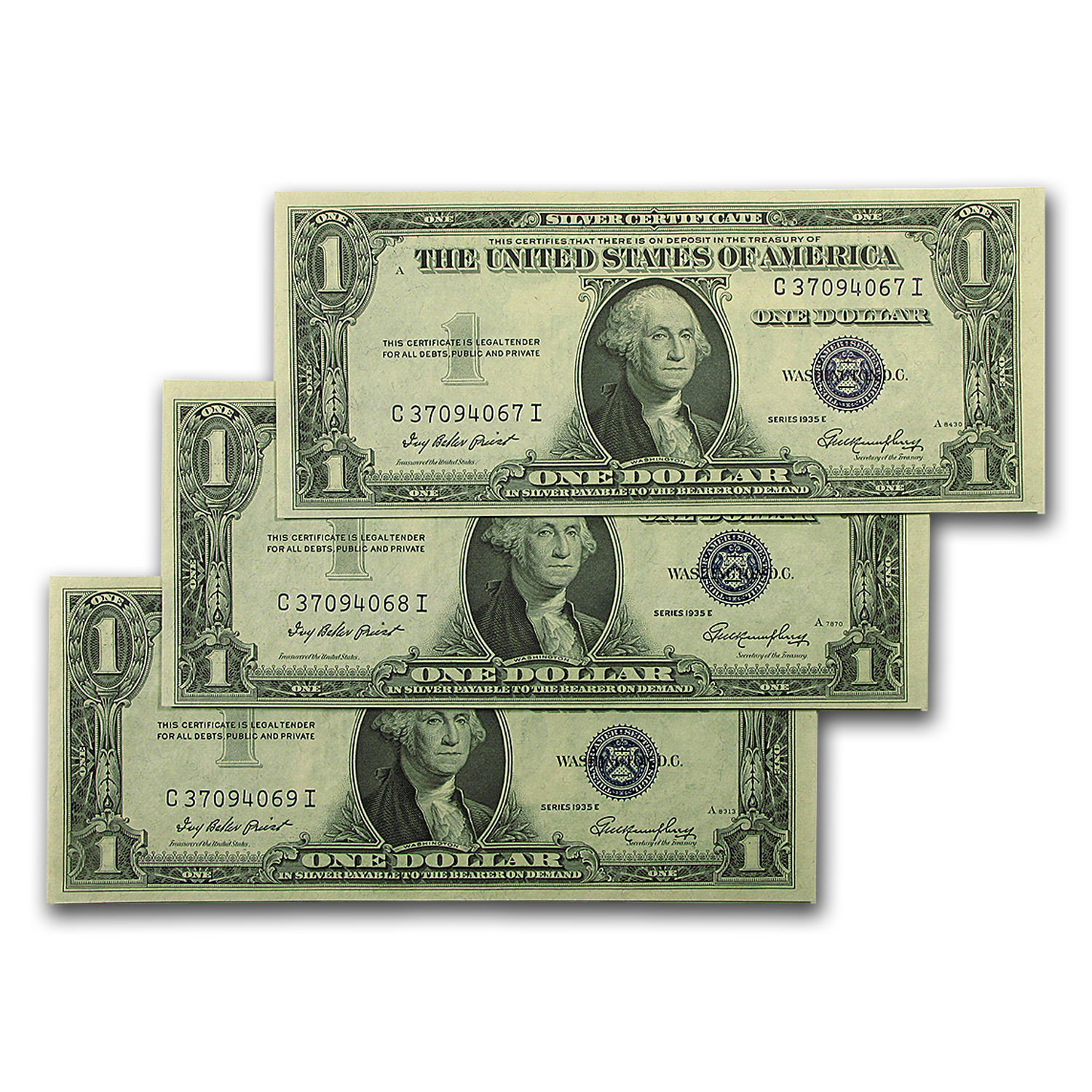1935s $1 Silver Certificates - Crisp Uncirculated