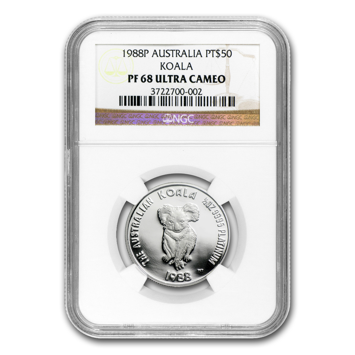 1988 Australia 1/2 oz Proof Platinum Koala PF-68 NGC