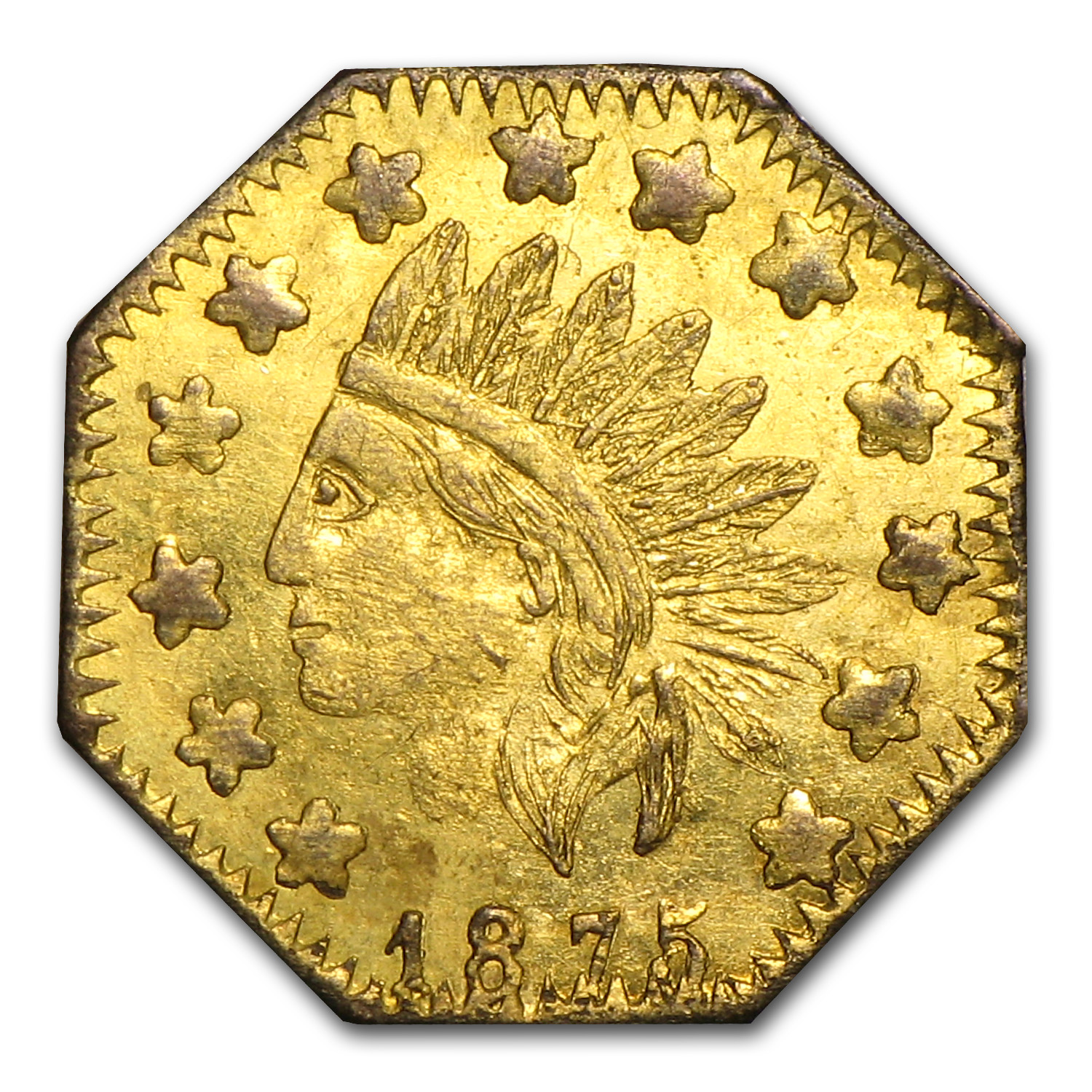 1875 Indian Octagonal Gold Token Au 58 California