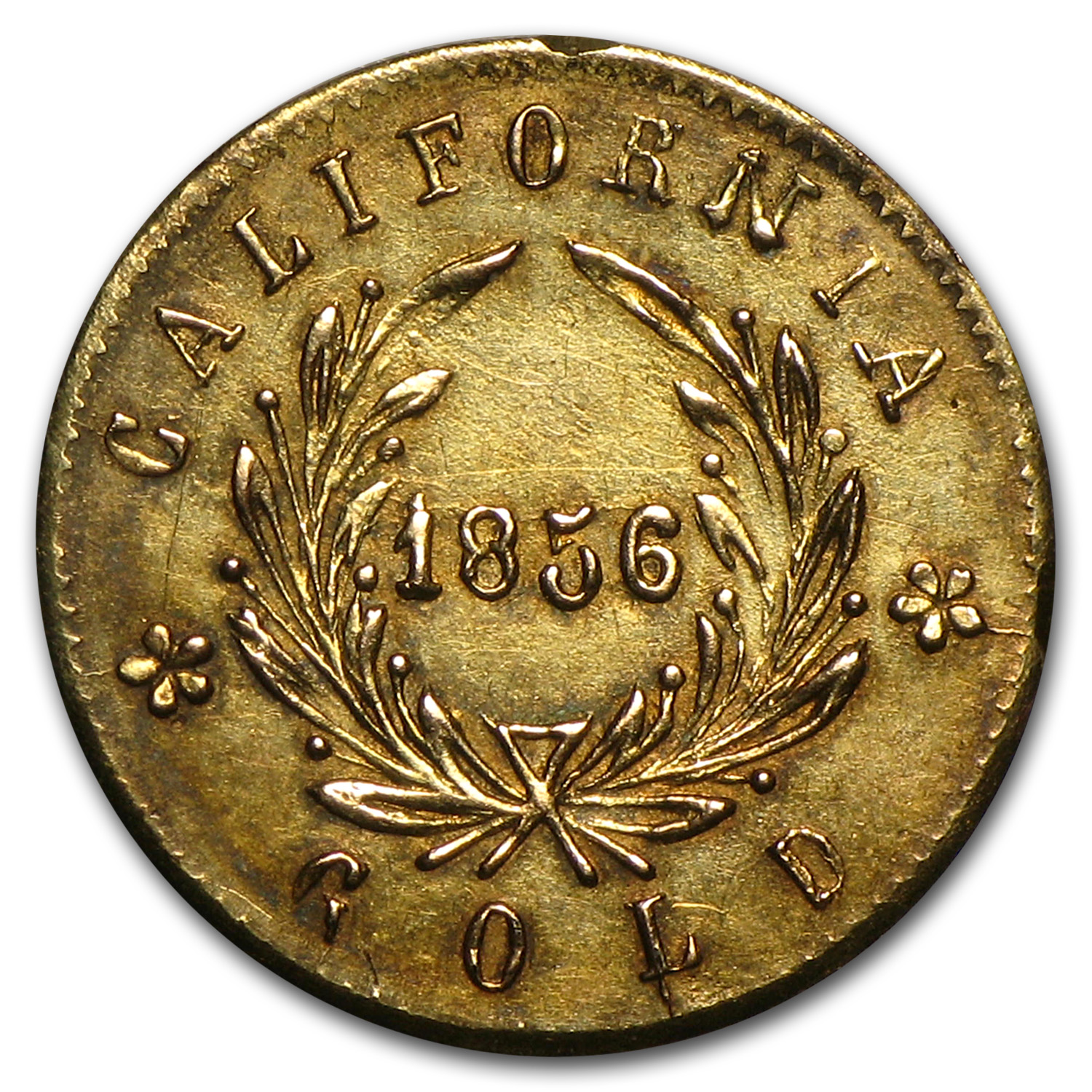 1856 Indian Round California Gold Token AU (Rim Damage)