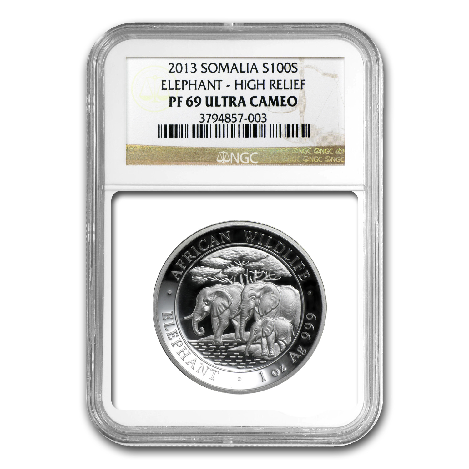 2013 Somalia 1 oz Silver Elephant PF-69 NGC (High Relief)