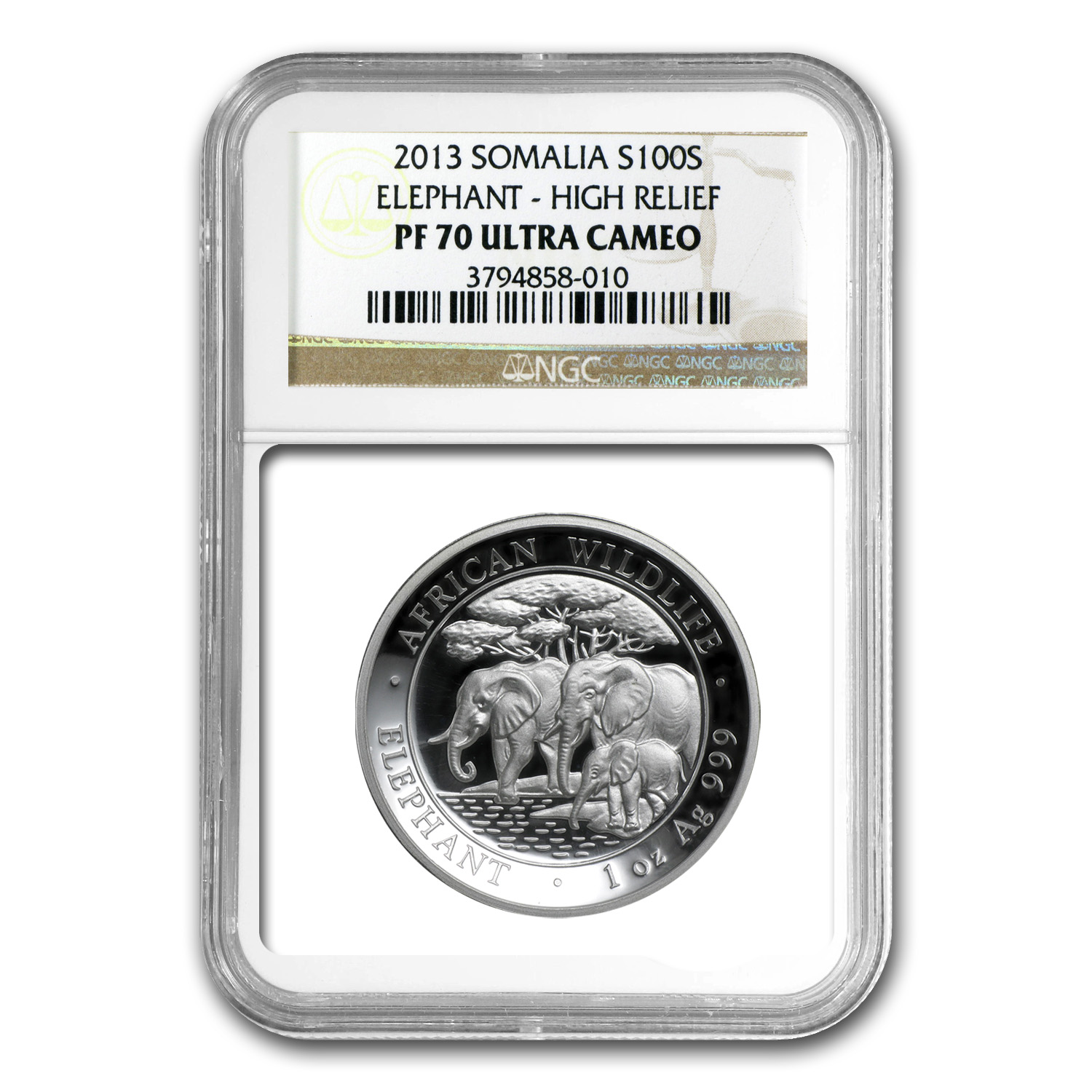 2013 Somalia 1 oz Silver Elephant PF-70 NGC (High Relief)