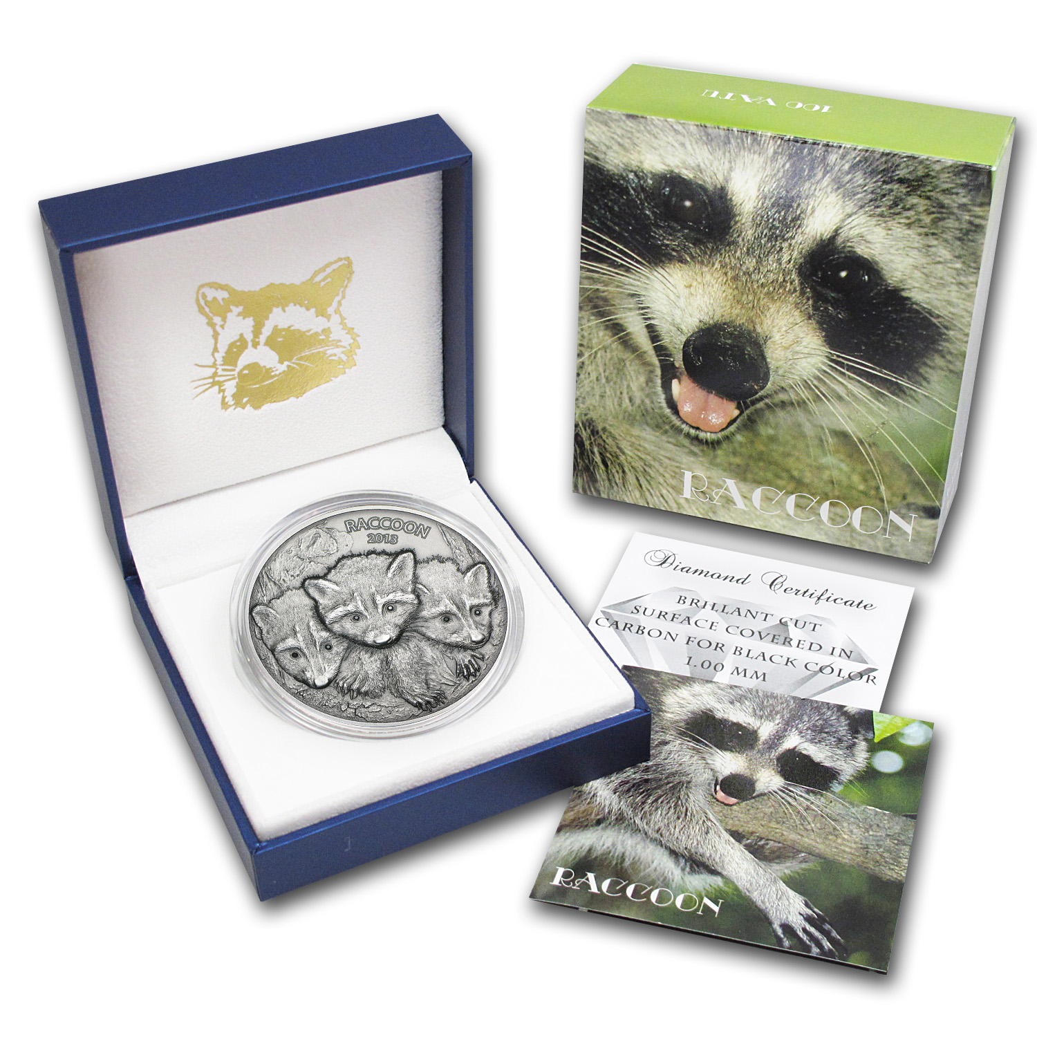 Vanuatu 2013 2 oz Silver Forest Animals - The Raccoon