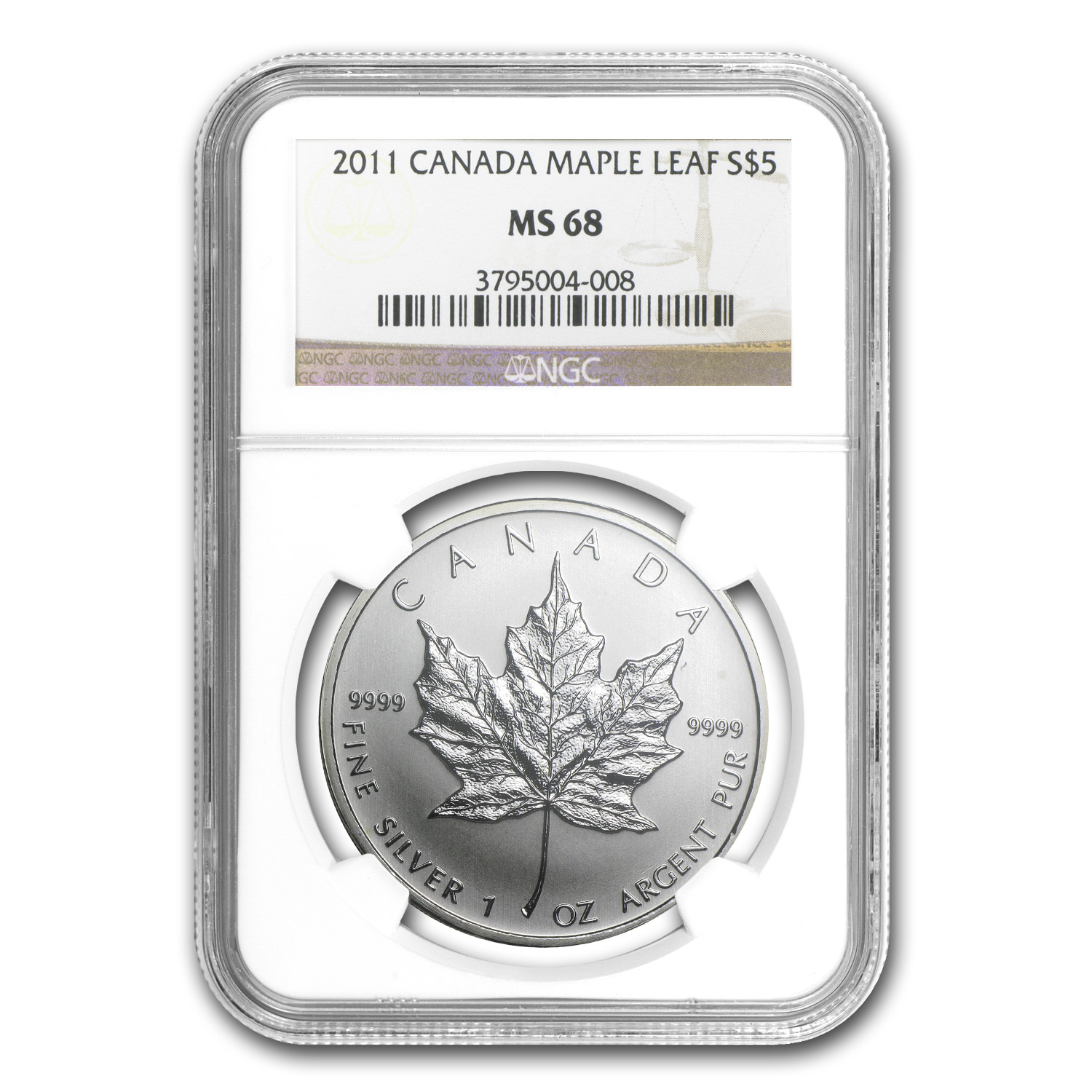 2011 1 oz Silver Canadian Maple Leaf MS-68 NGC