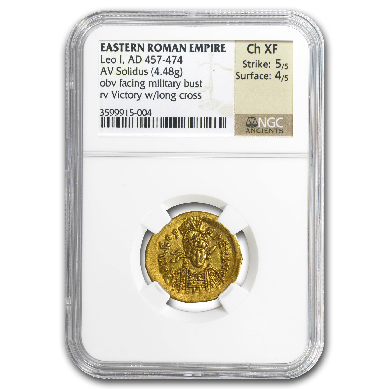 Eastern Roman Gold Solidus of Leo I Ch XF NGC (457-474 AD)