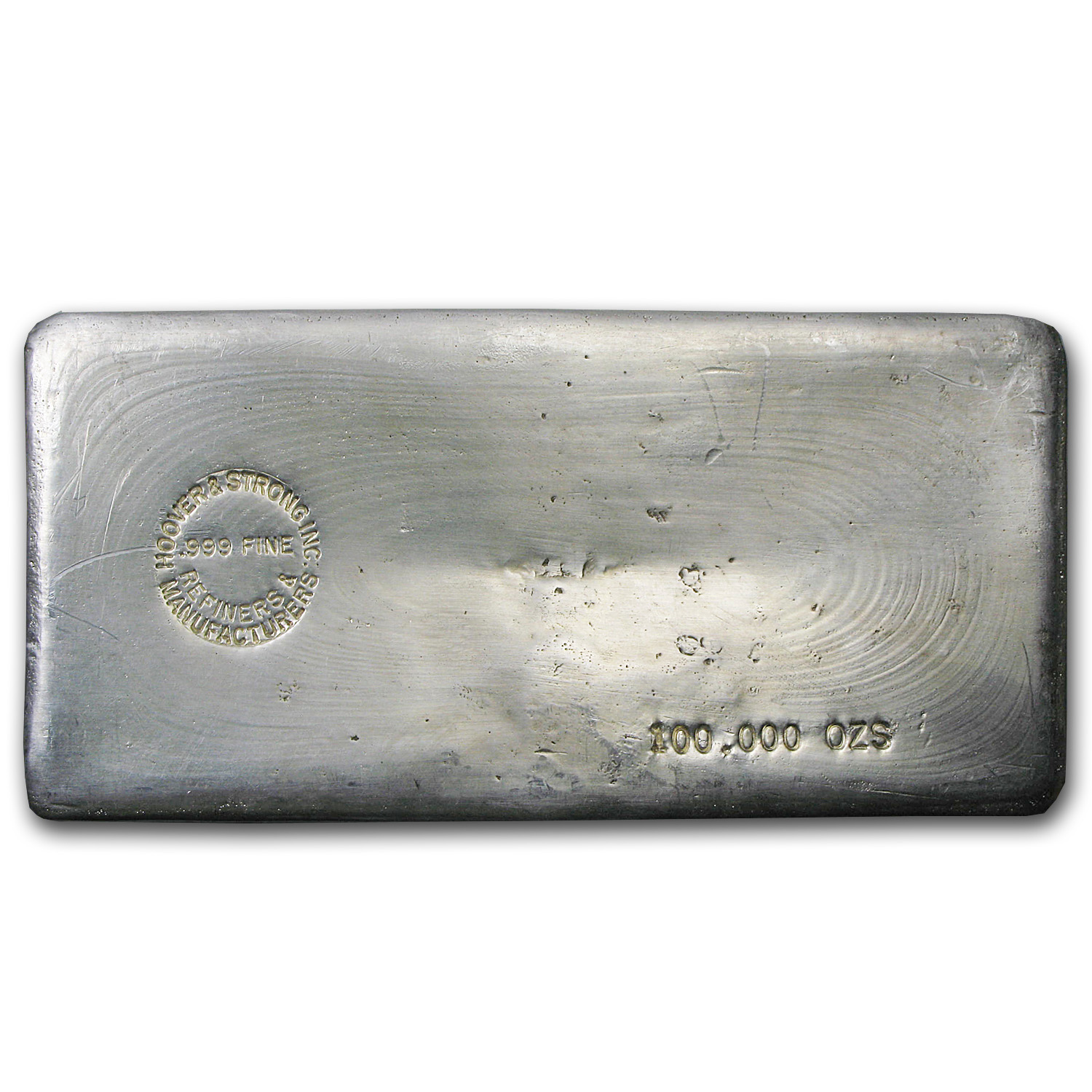 100 oz Silver Bar - Hoover & Strong