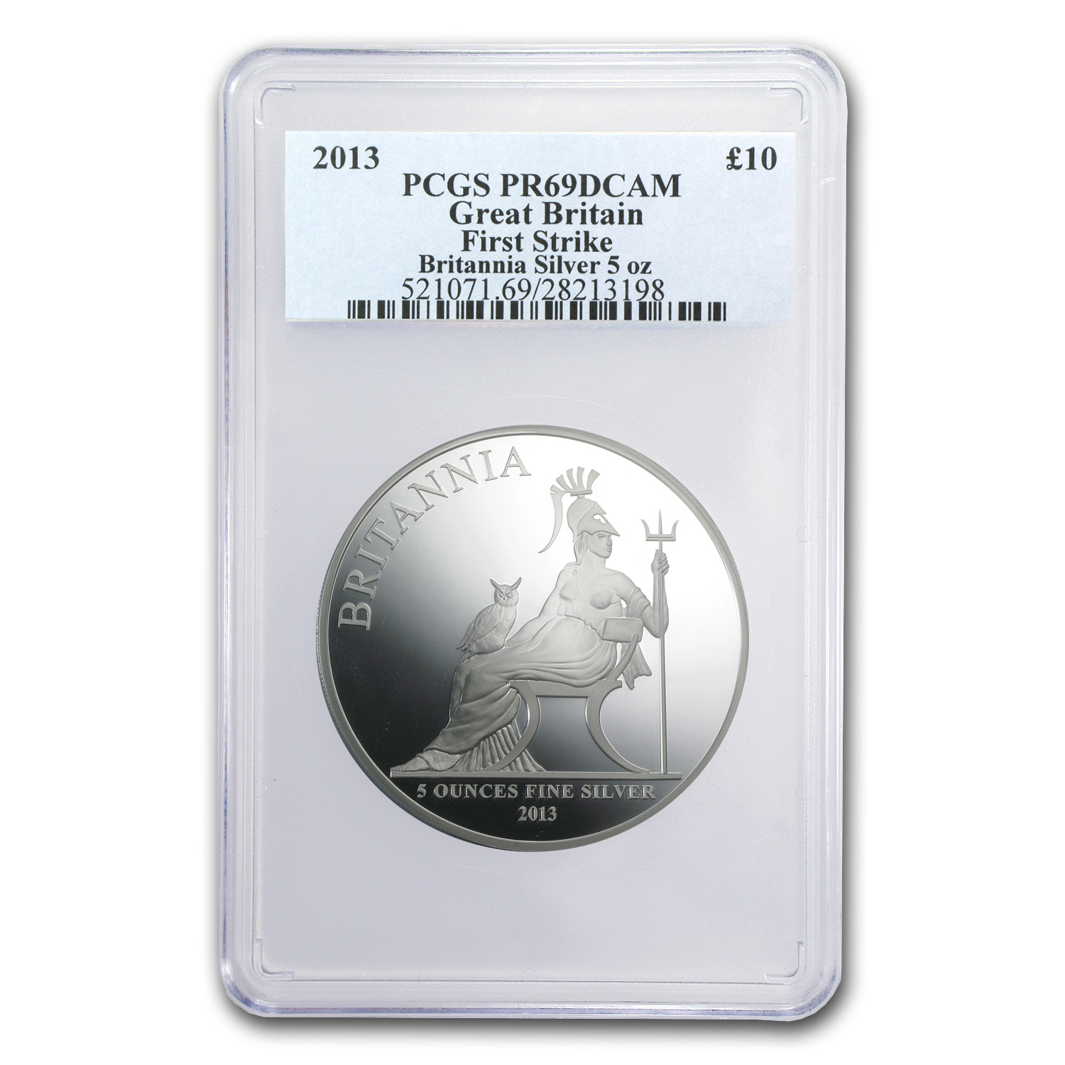 2013 5 oz Silver Britannia PR-69 PCGS (First Strike)
