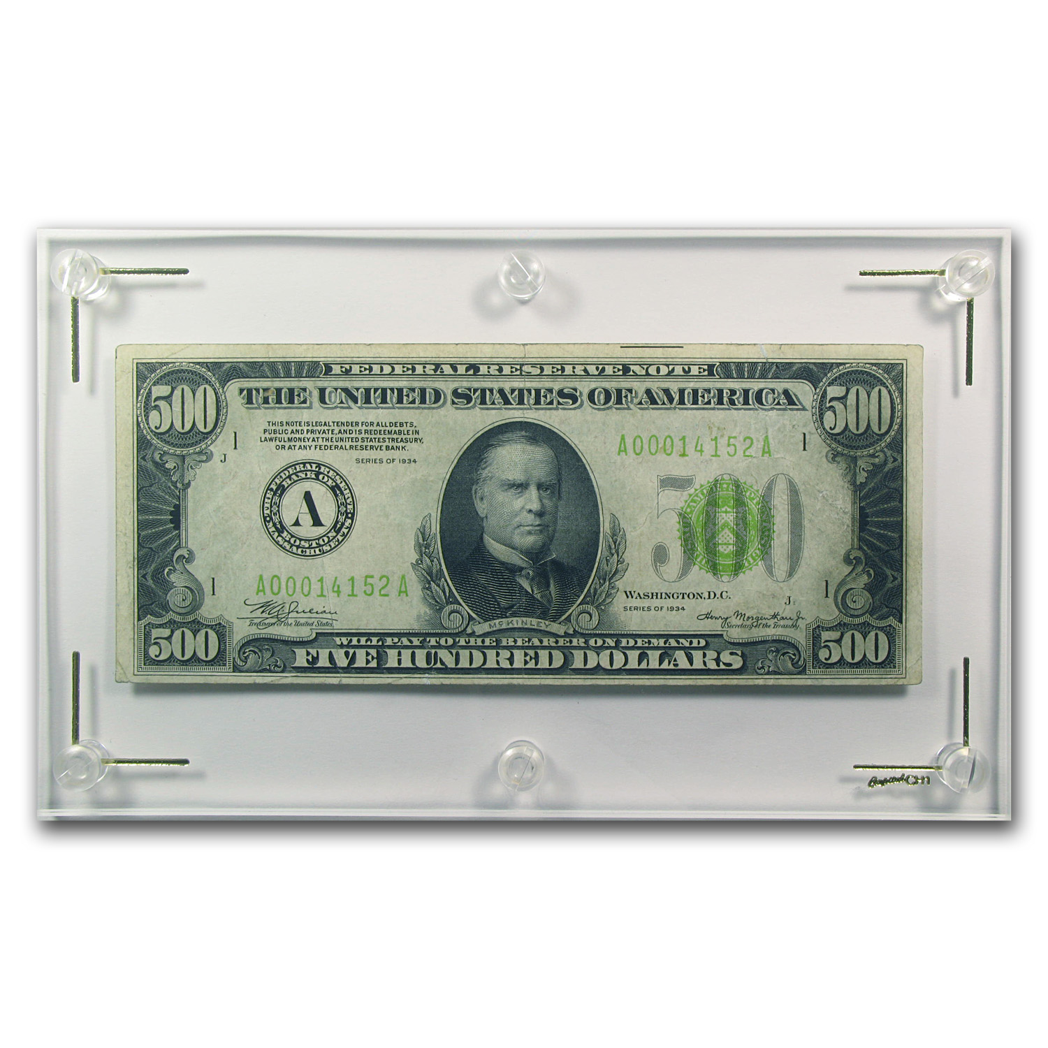 1934 (A-Boston) $500 FRN (Very Fine +) Light Green Seal