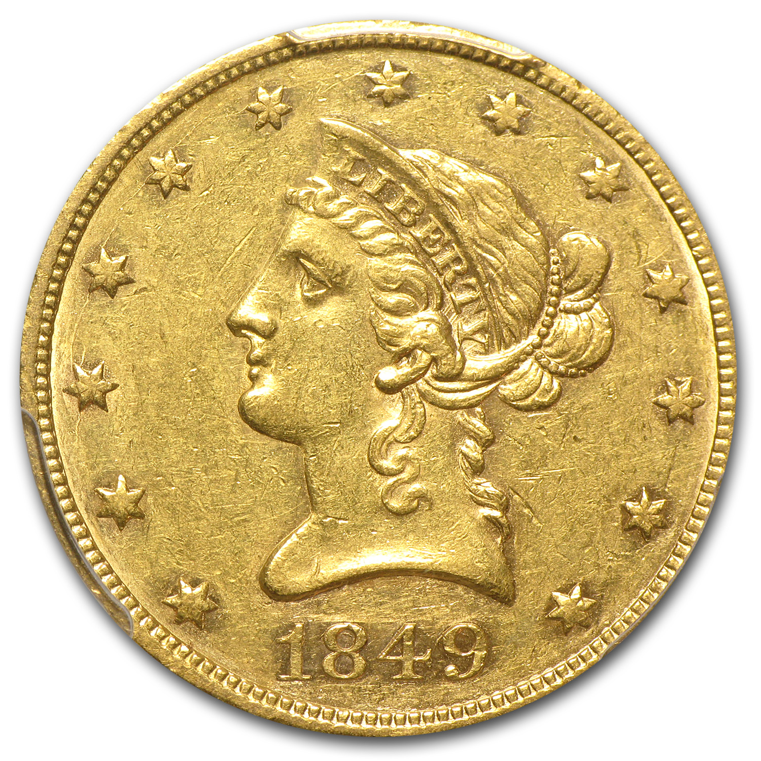1849 $10 Liberty Gold Eagle - AU-53 PCGS