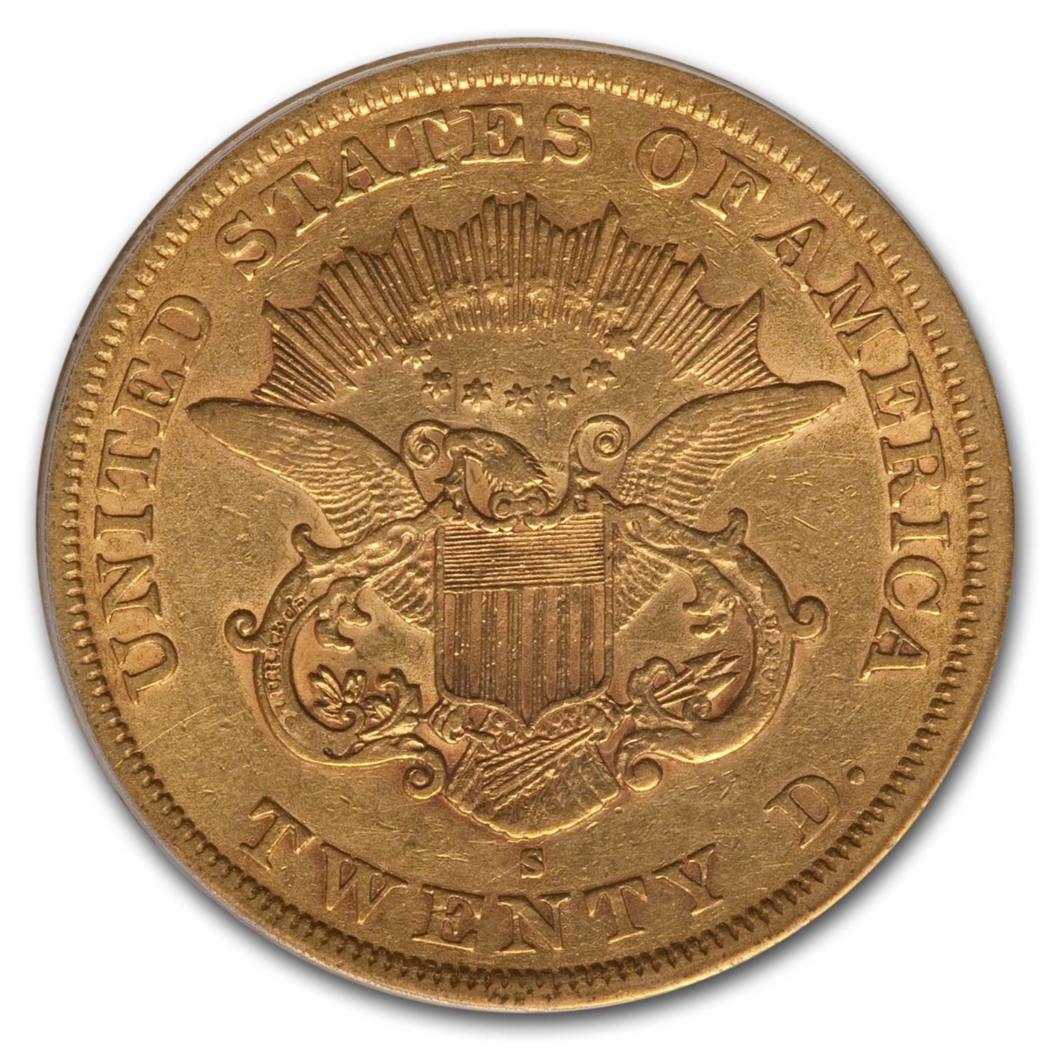 1863-S $20 Gold Liberty Double Eagle VF-35 PCGS