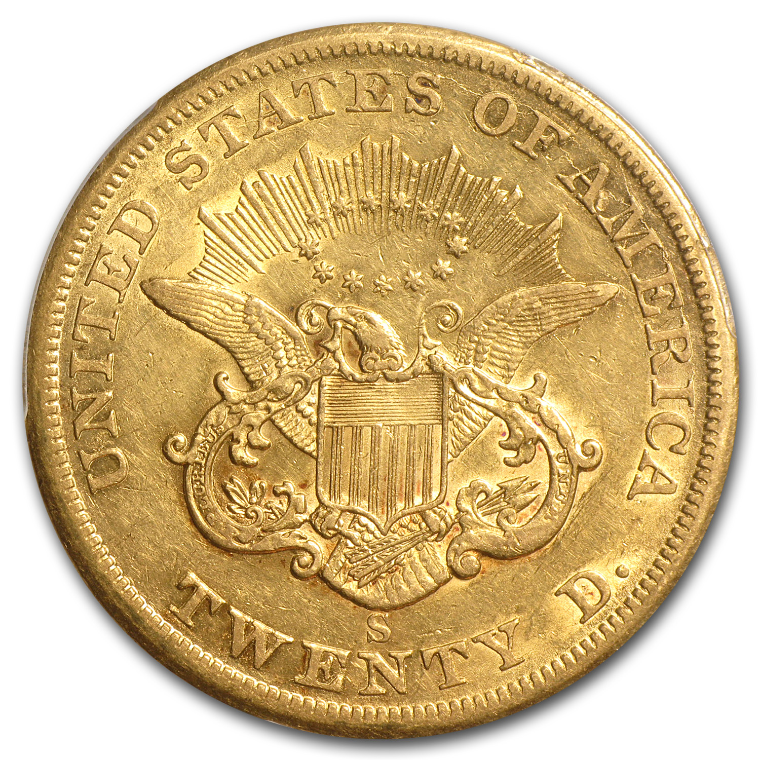 1860-S $20 Gold Liberty Double Eagle XF-40 PCGS