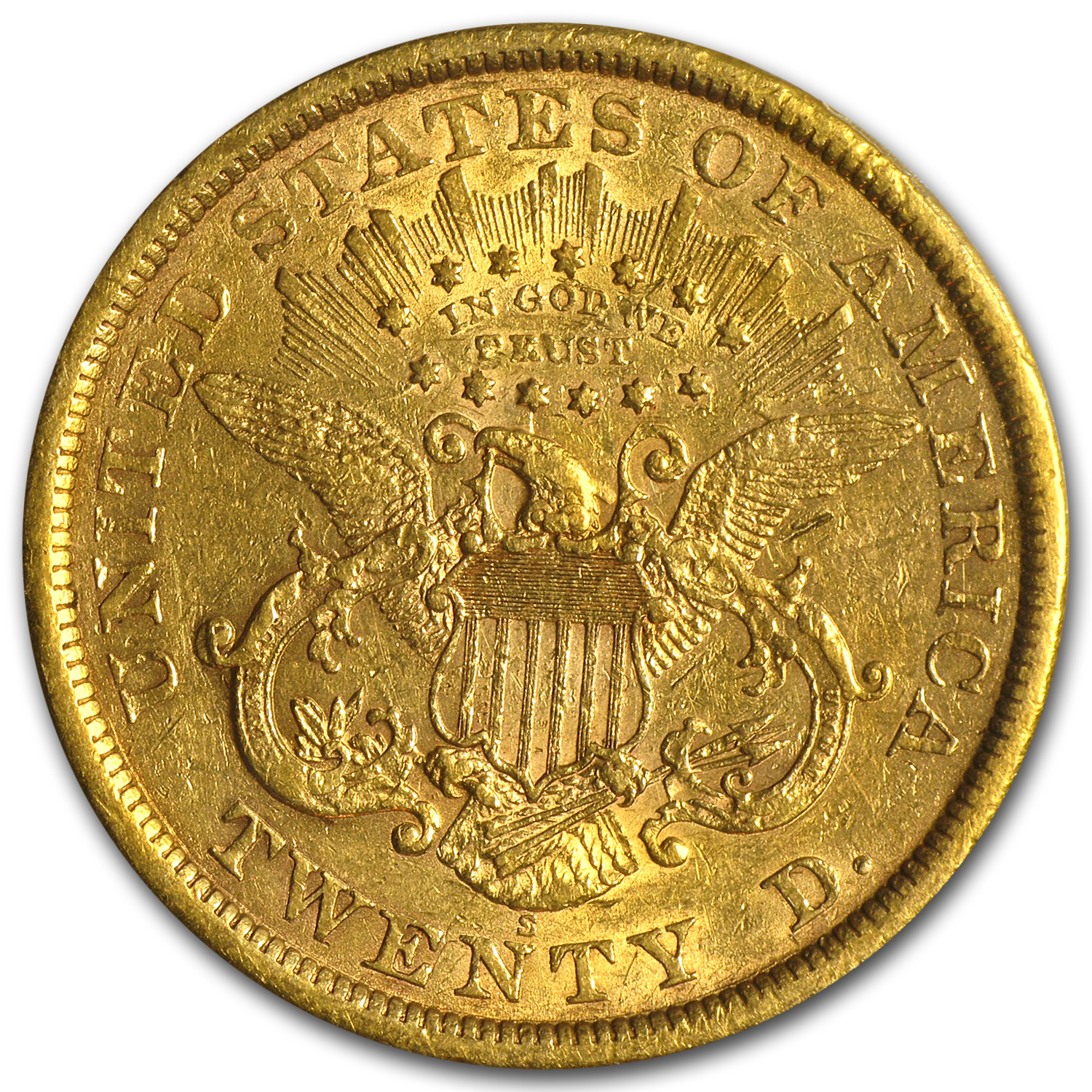 1866-S $20 Liberty Gold Double Eagle XF-45 PCGS (w/Motto)