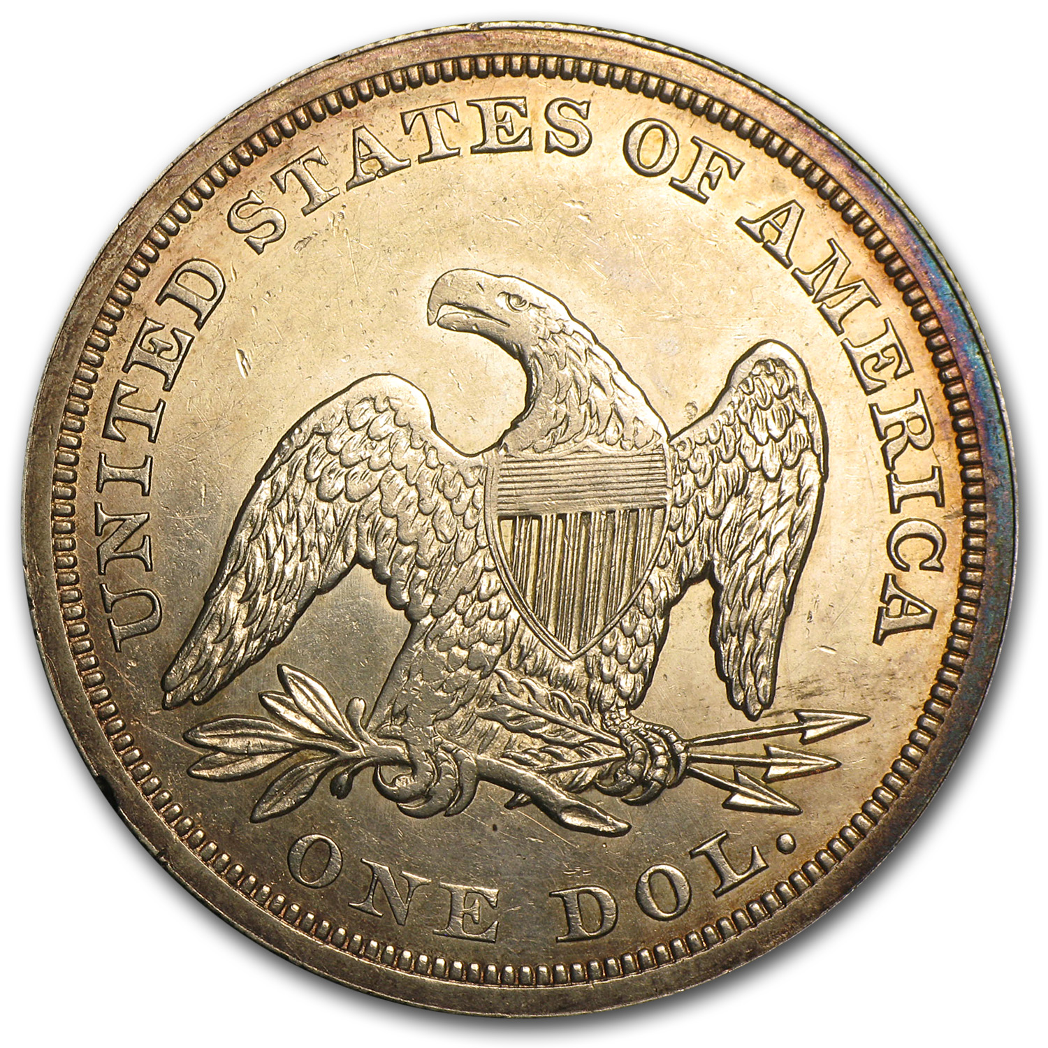 1849 Liberty Seated Dollar AU