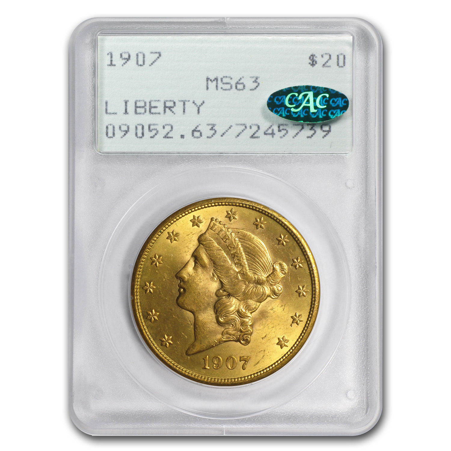 1907 $20 Gold Liberty Double Eagle MS-63 PCGS (CAC)
