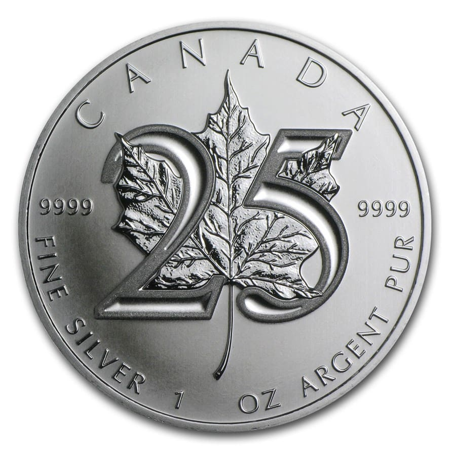 2013 1 oz Silver Canadian Maple Leaf BU (25th Anniv)