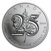 2013 1 oz Silver Maple Leaf (25th Anniversary)