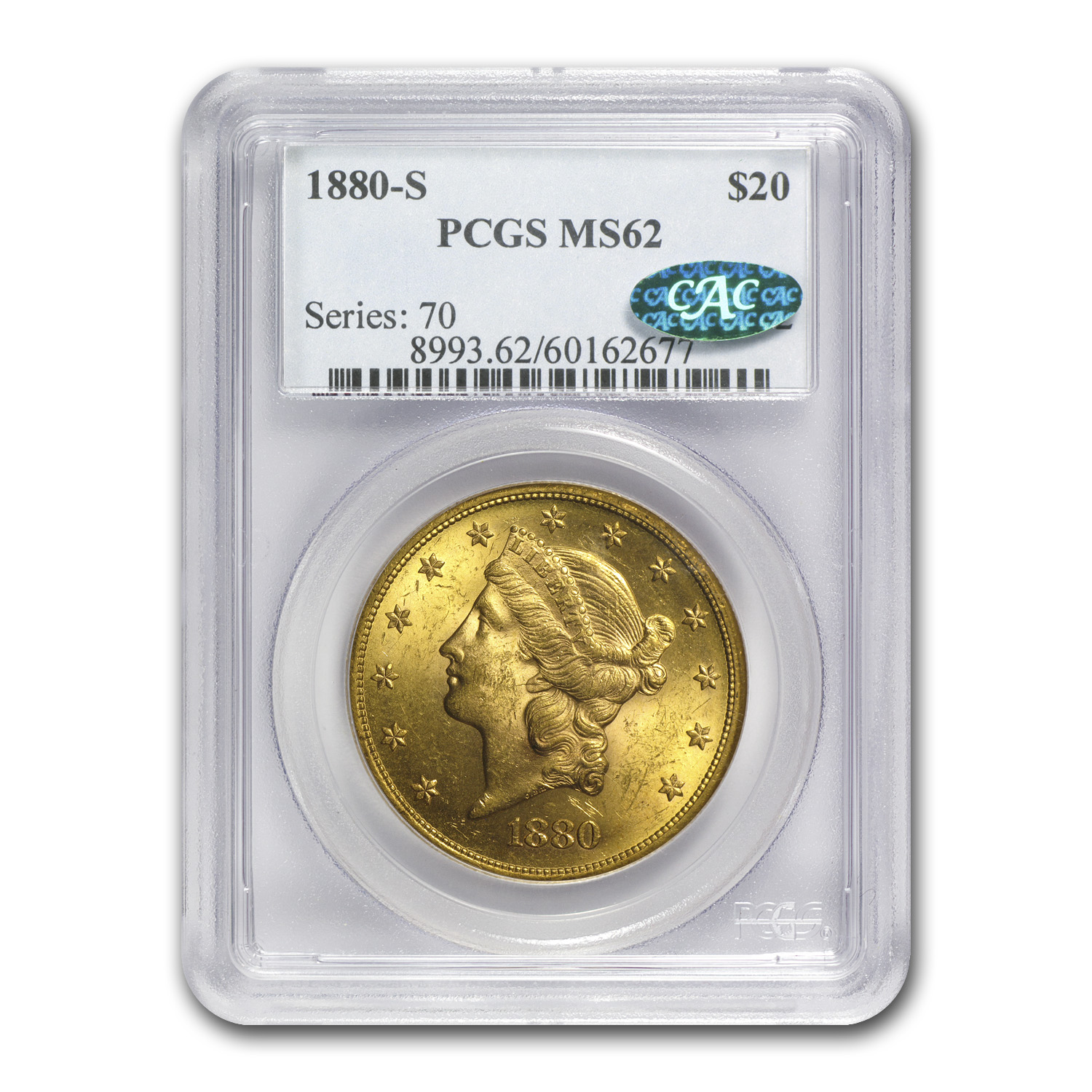 1880-S $20 Gold Liberty Double Eagle - MS-62 PCGS CAC