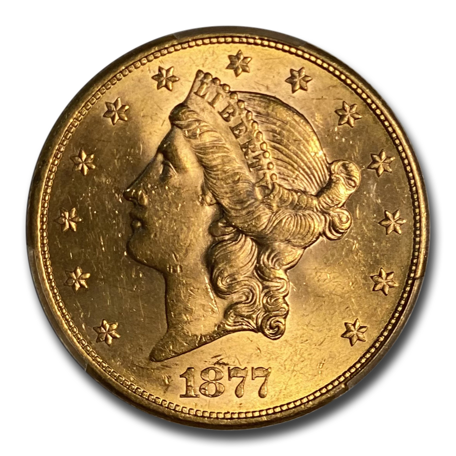 1877-S $20 Gold Liberty Double Eagle - MS-62 PCGS