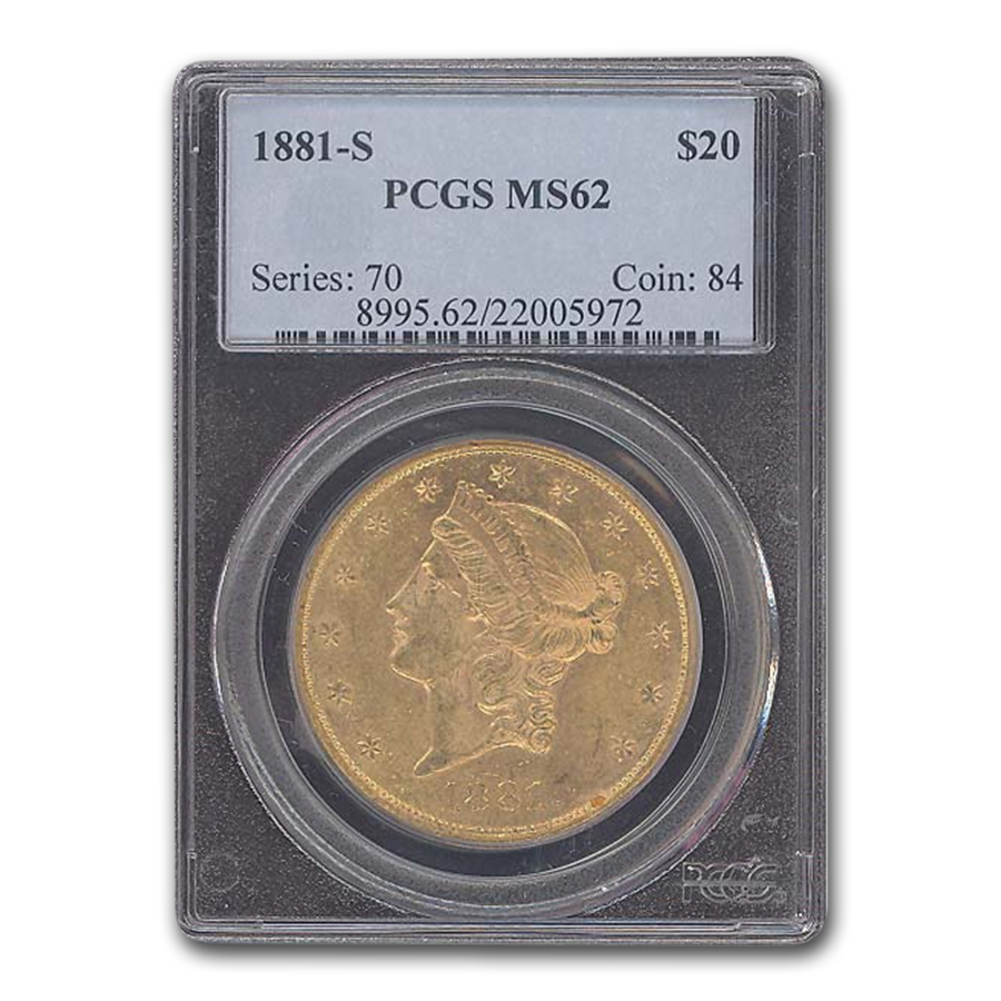 1881-S $20 Gold Liberty Double Eagle MS-62 PCGS